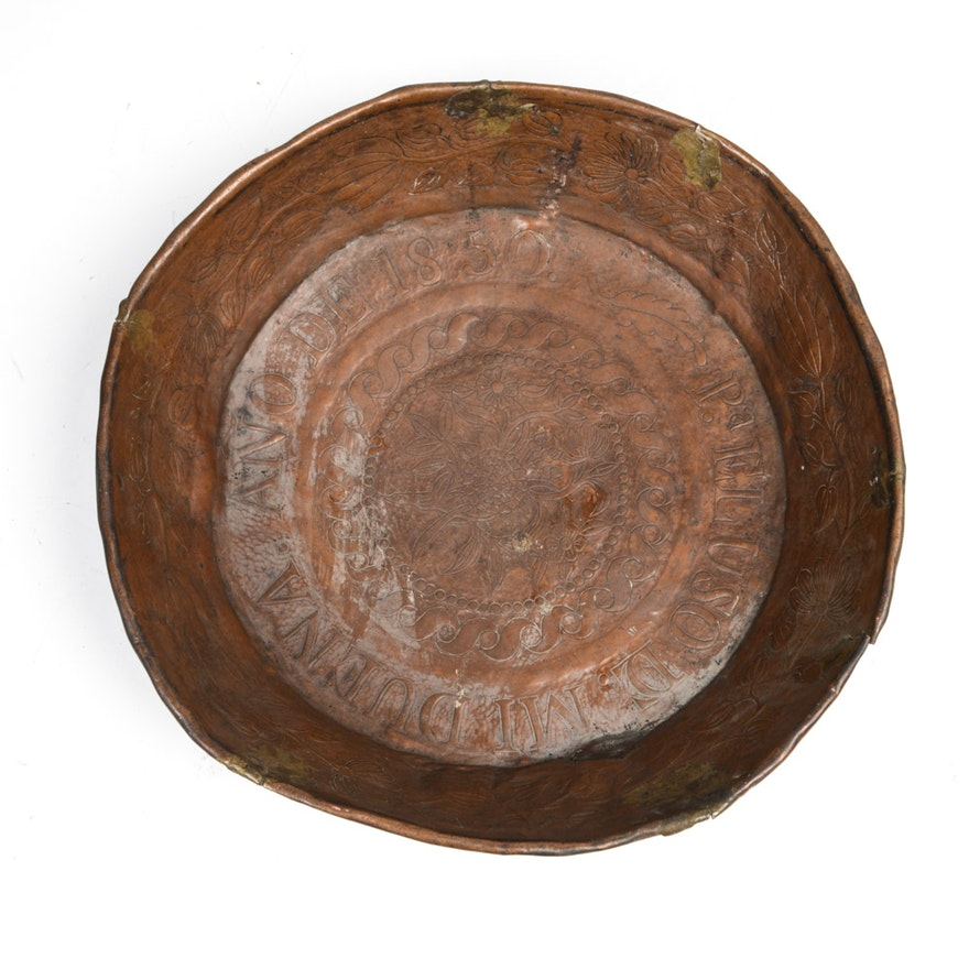 Antique Spanish Colonial Hammered Copper Bowl
