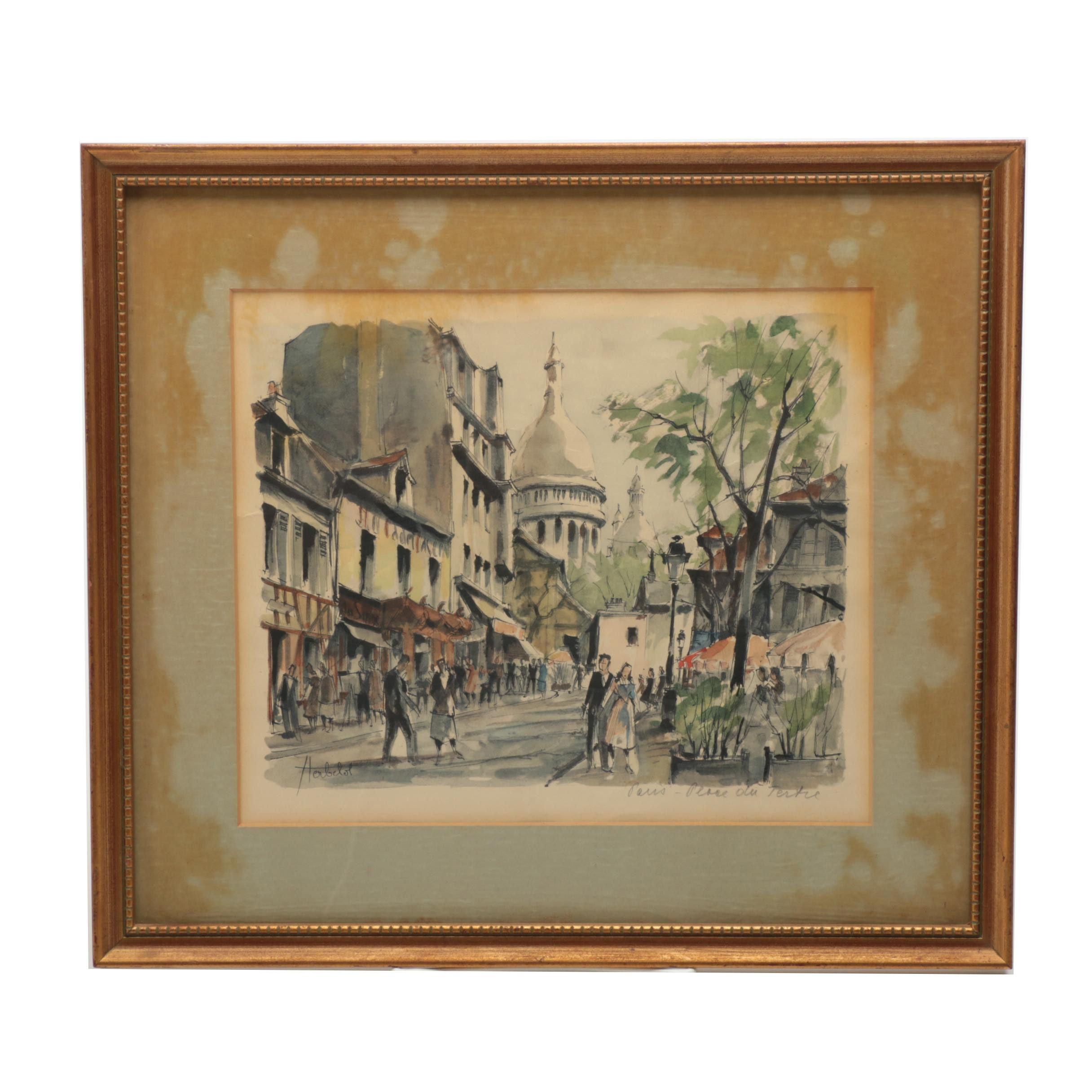 """Franz Herbelot Lithograph on Paper """"Paris - La Place du Tertre"""""""