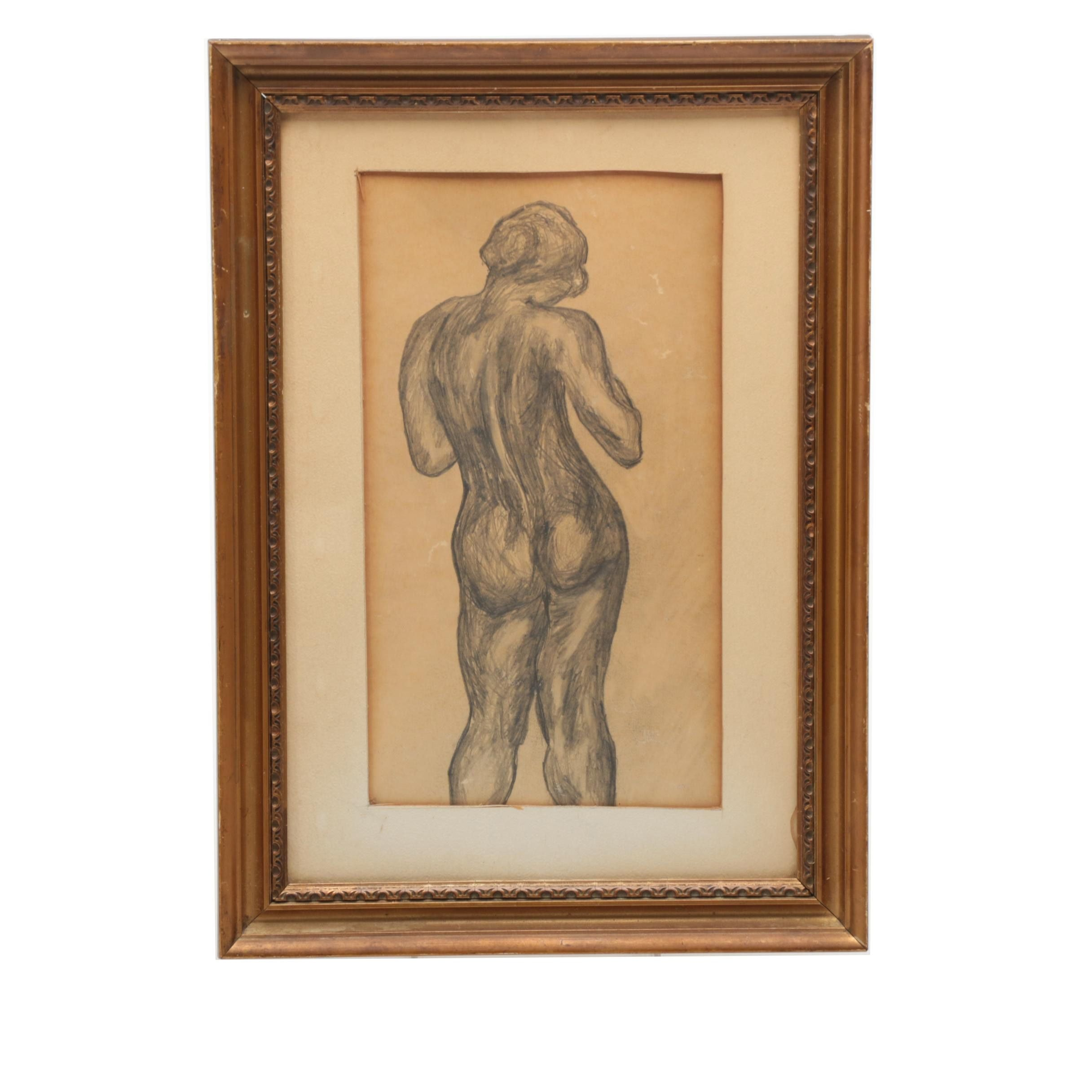 Graphite Drawing of Female Nude