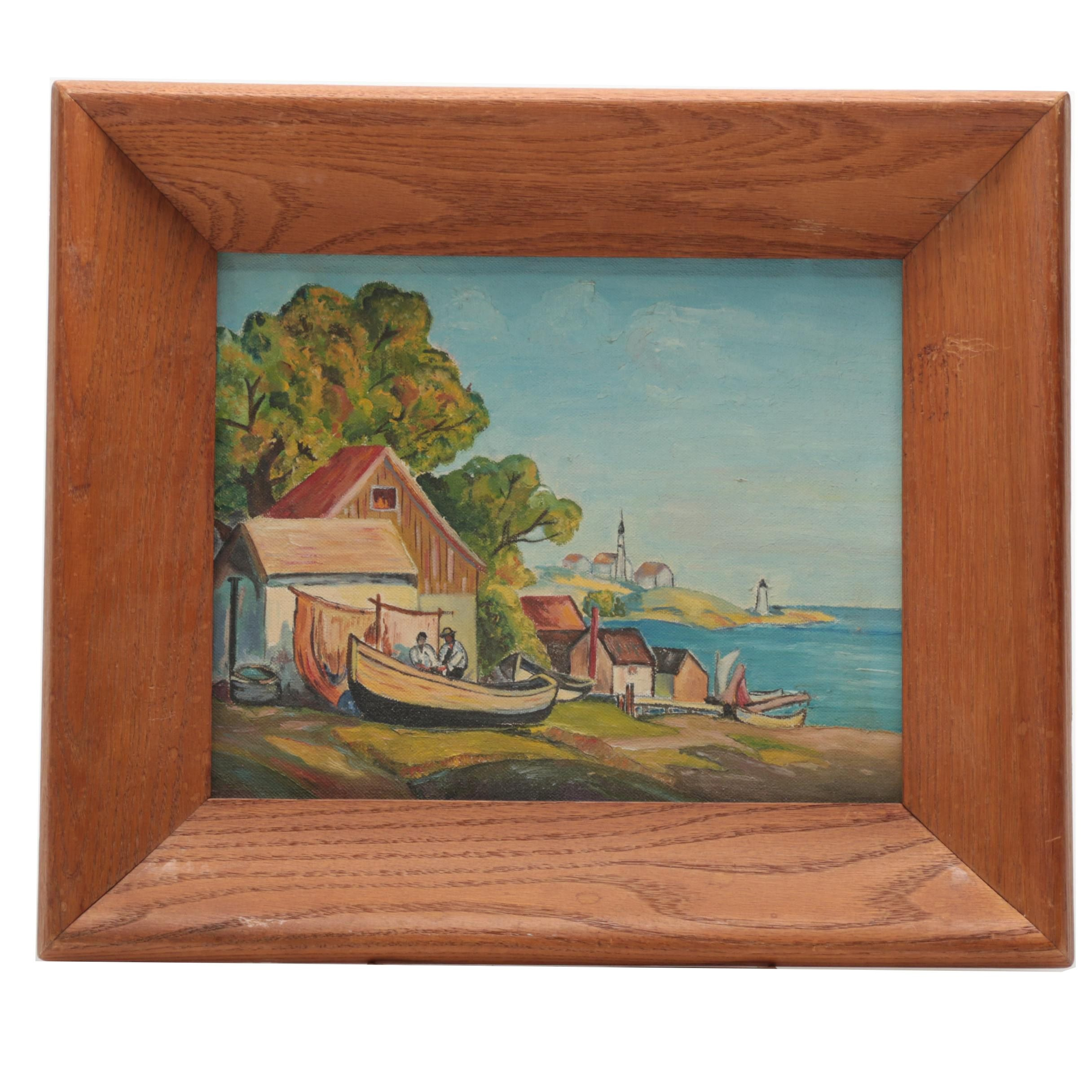 Framed Oil Painting of a Marina
