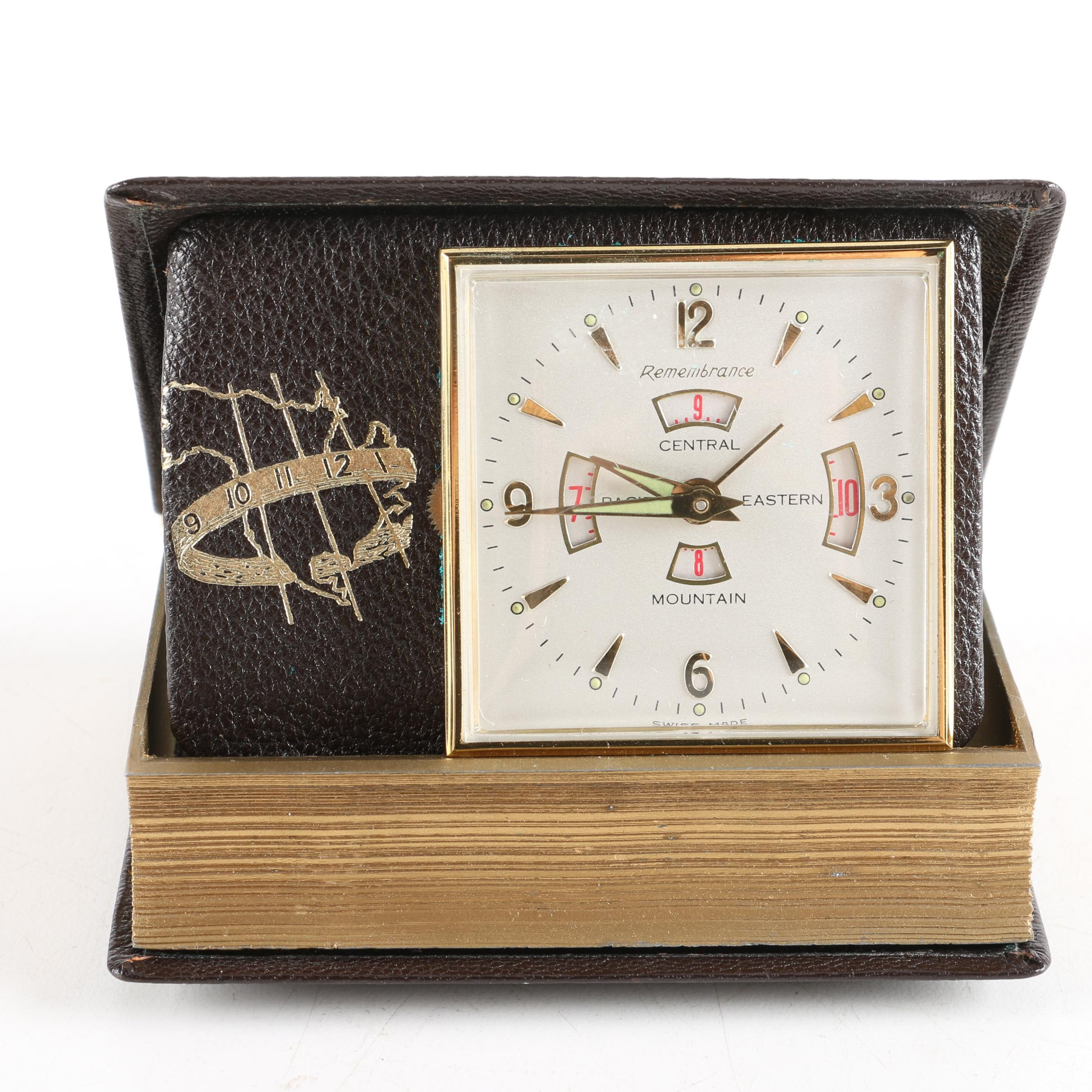 "Swiss-Made Remembrance ""The Four Zone"" Book-Style Travel Clock With Time Zone Display"