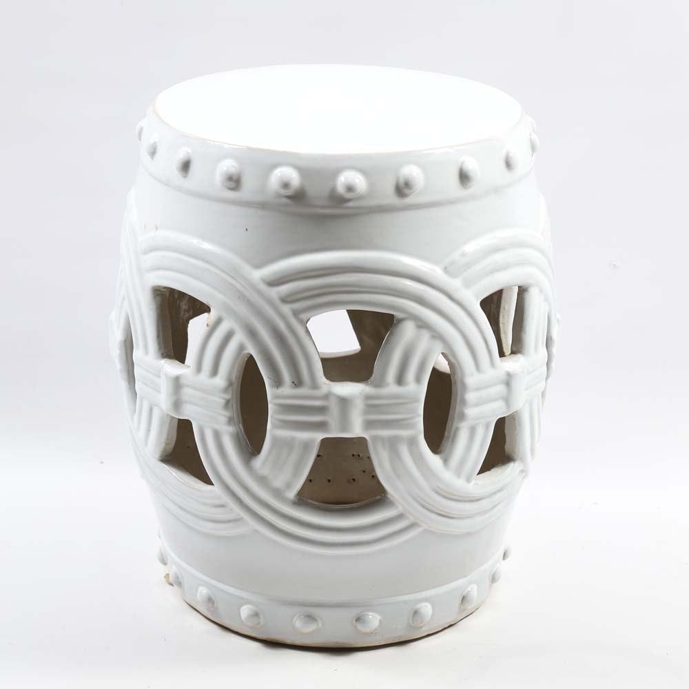 White Ceramic Garden Stool Ebth