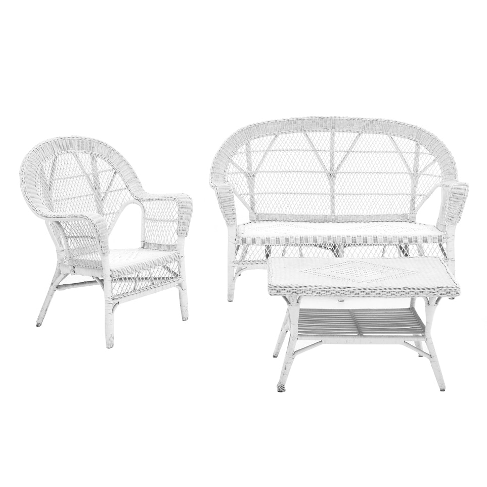 Woven Wicker Settee / Arm Chair / Table Set