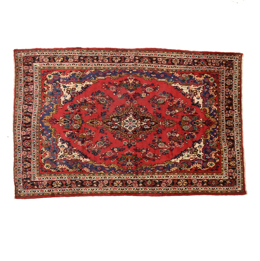 Hand Knotted Persian Kirman Wool Area Rug