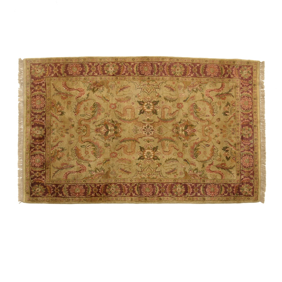 Hand Knotted Indo-Oushak Wool Area Rug