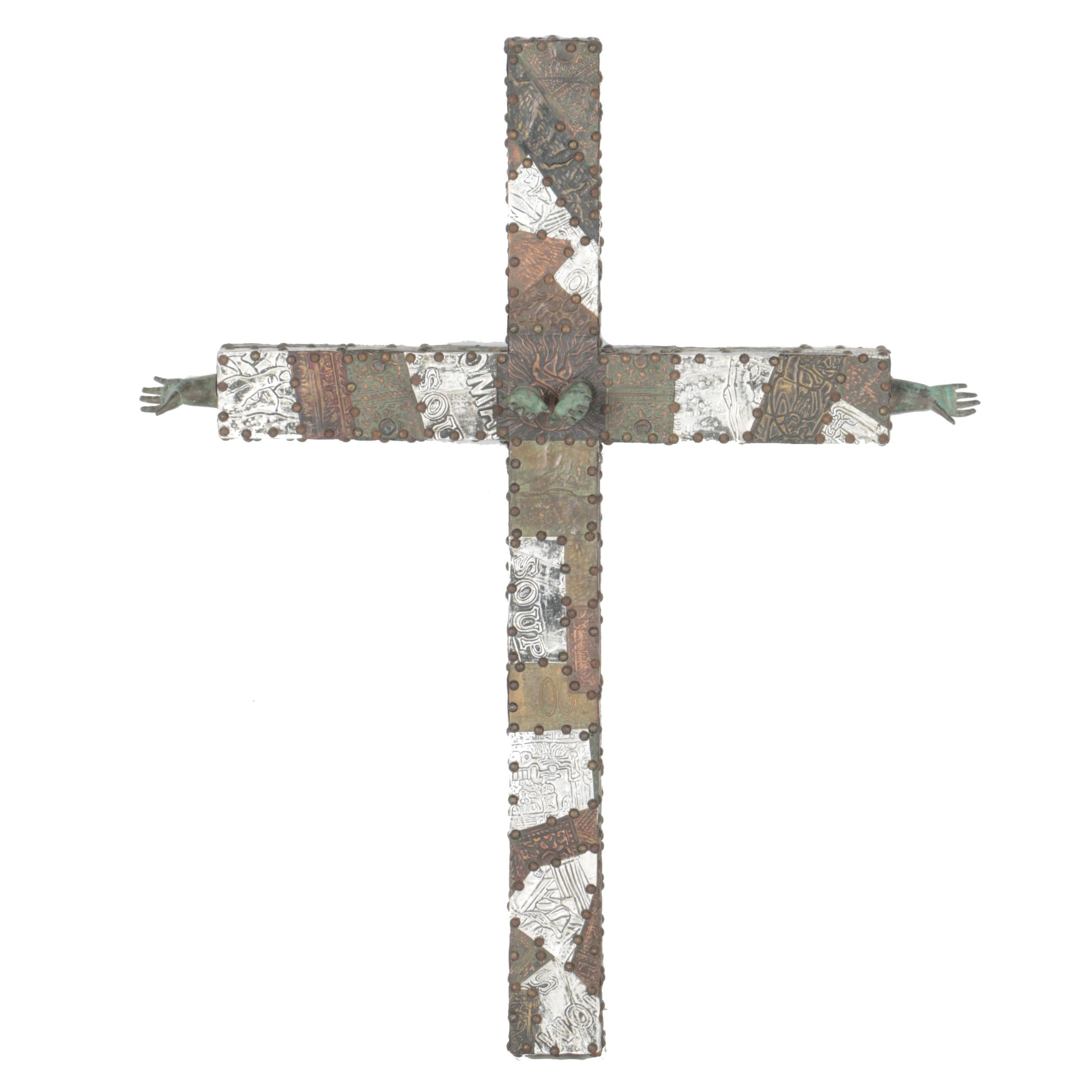 Wood and Metal Cross Sculpture