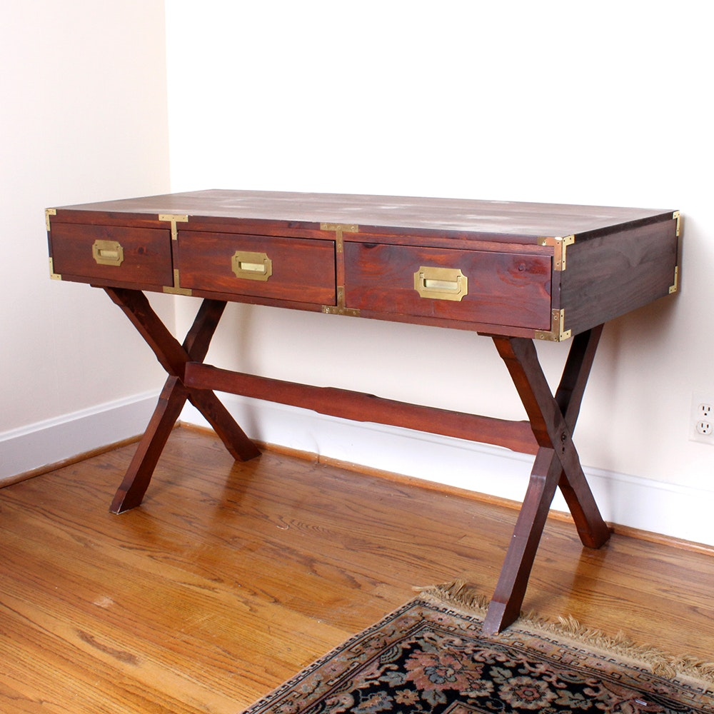 dark stained pine campaign style desk ebth rh ebth com campaign style desk for sale modern campaign style desk