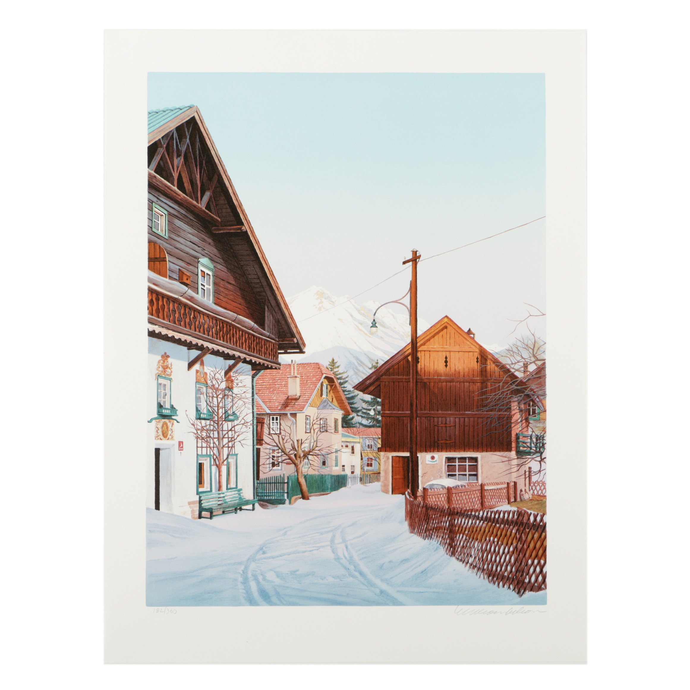 "William Nelson Limited Edition Serigraph on Paper ""Austrian Village"""