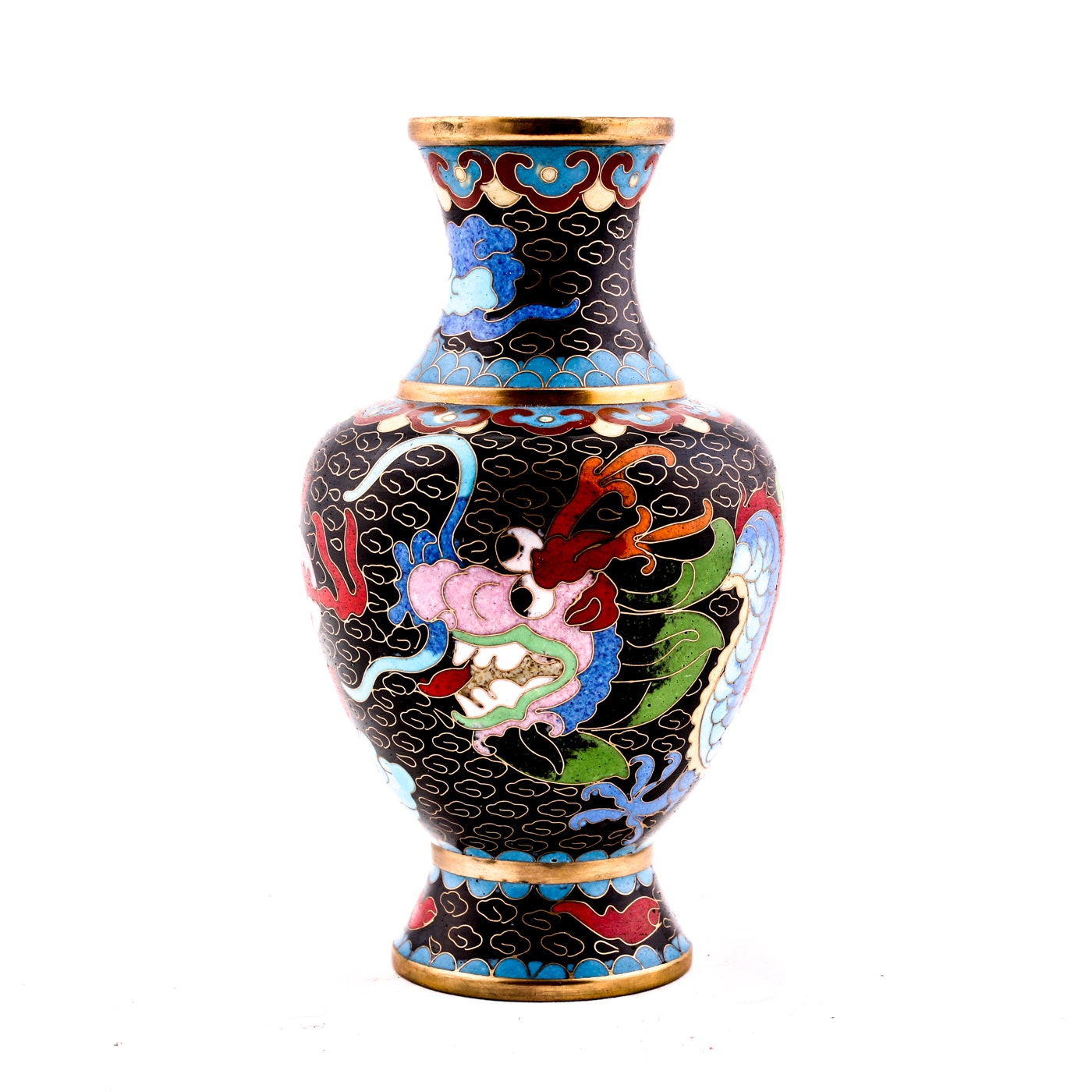 Vintage Chinese Cloisonné Dragon Chasing Flaming Pearl Vase