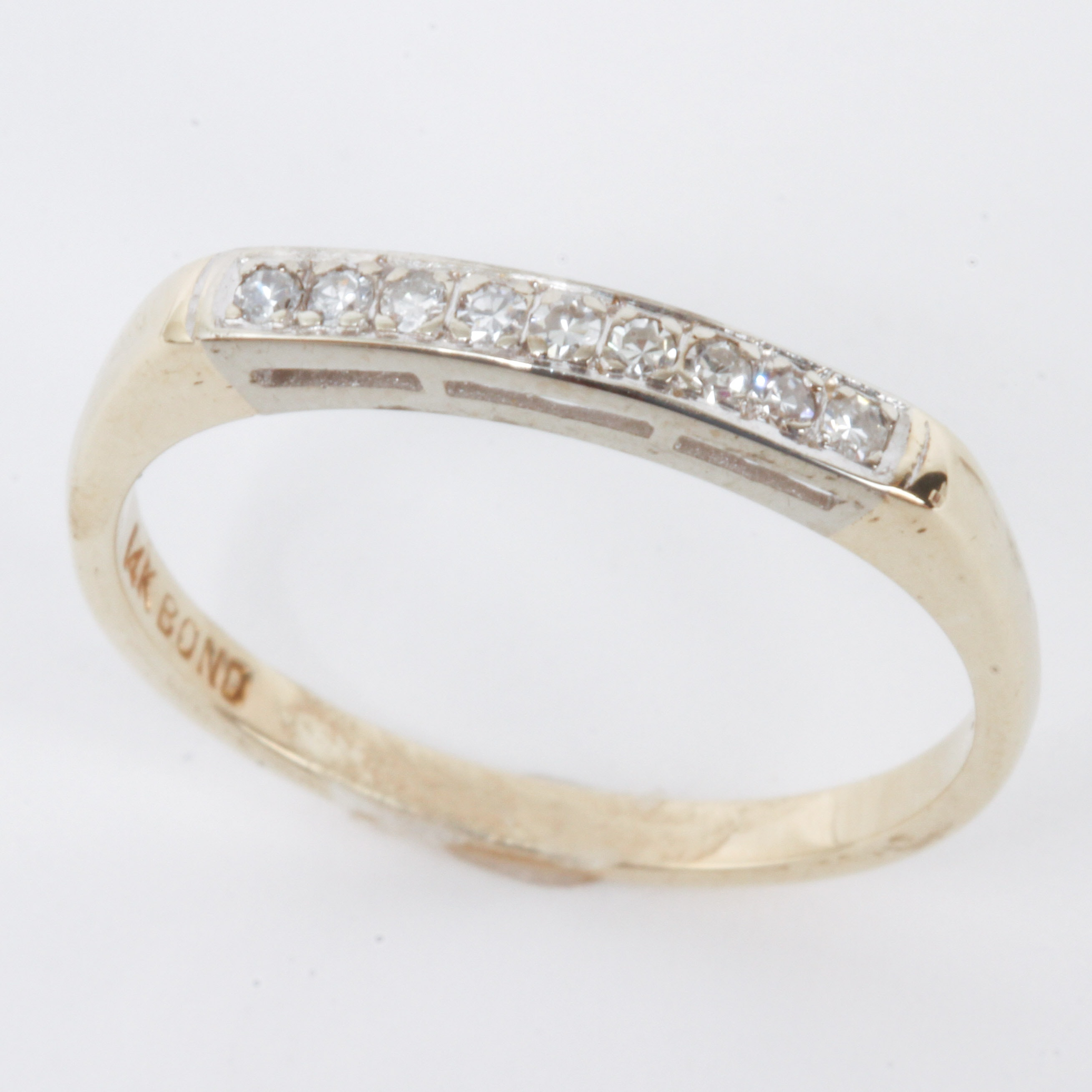 Vintage 14K Two-Tone Gold and Diamond Band