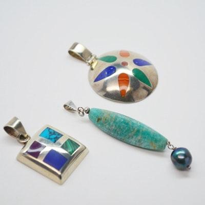 Three Sterling Silver Gemstone Pendants