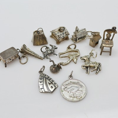 Thirteen Sterling Silver Charms