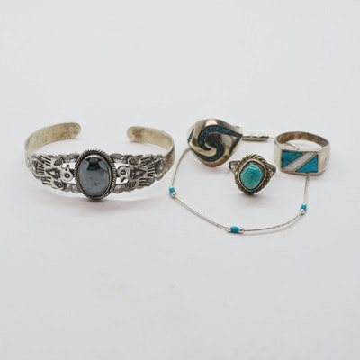 Native America Style Sterling Silver Hematite Cuff, Turquoise Bead Bracelet and Three Rings
