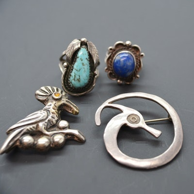Sterling Silver Lapis Lazuli Ring, Turquoise Ring, and Two Brooches