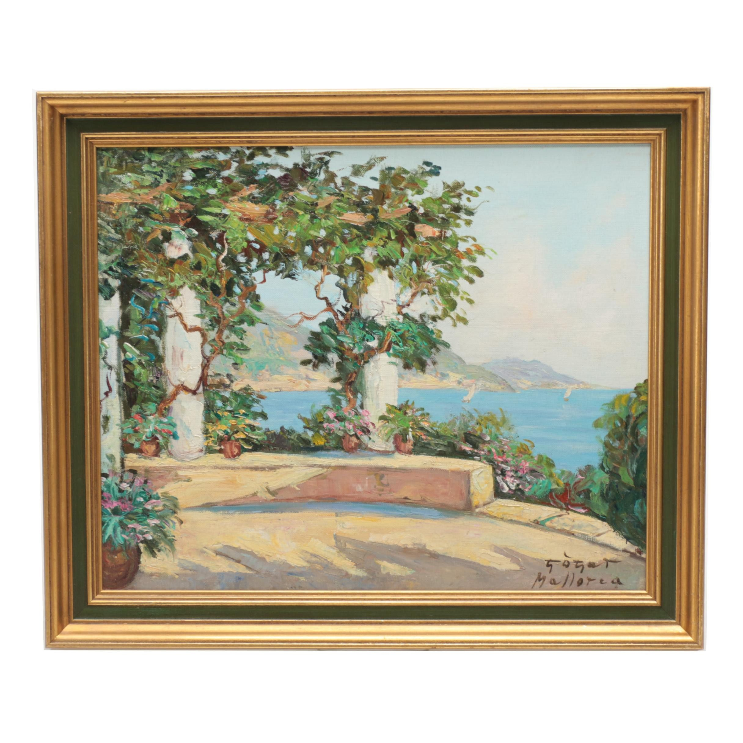 """Signed Oil on Canvas Board """"Mallorca"""" Spanish Landscape Painting"""