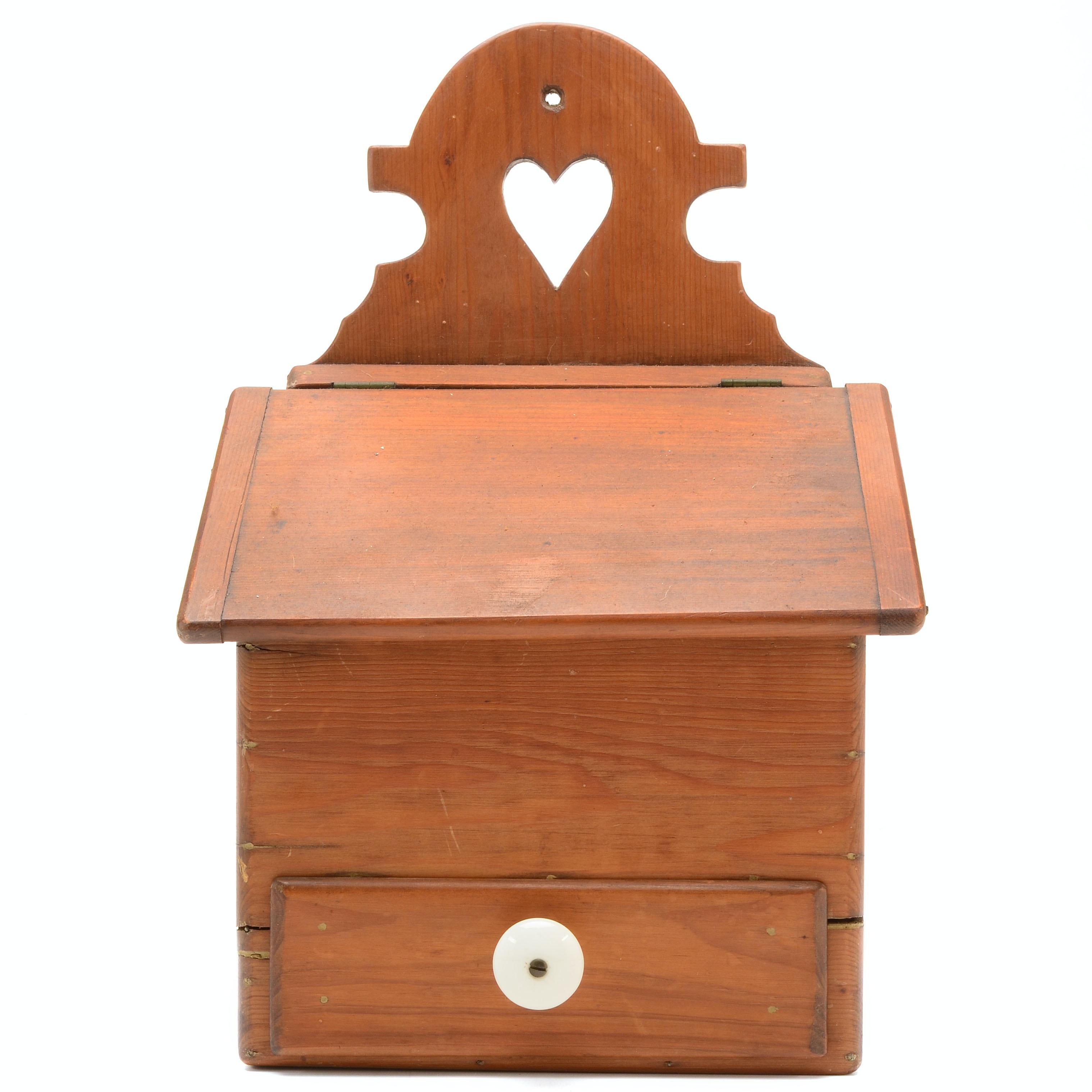 Folk Art Style Primitive Wooden Salt Box
