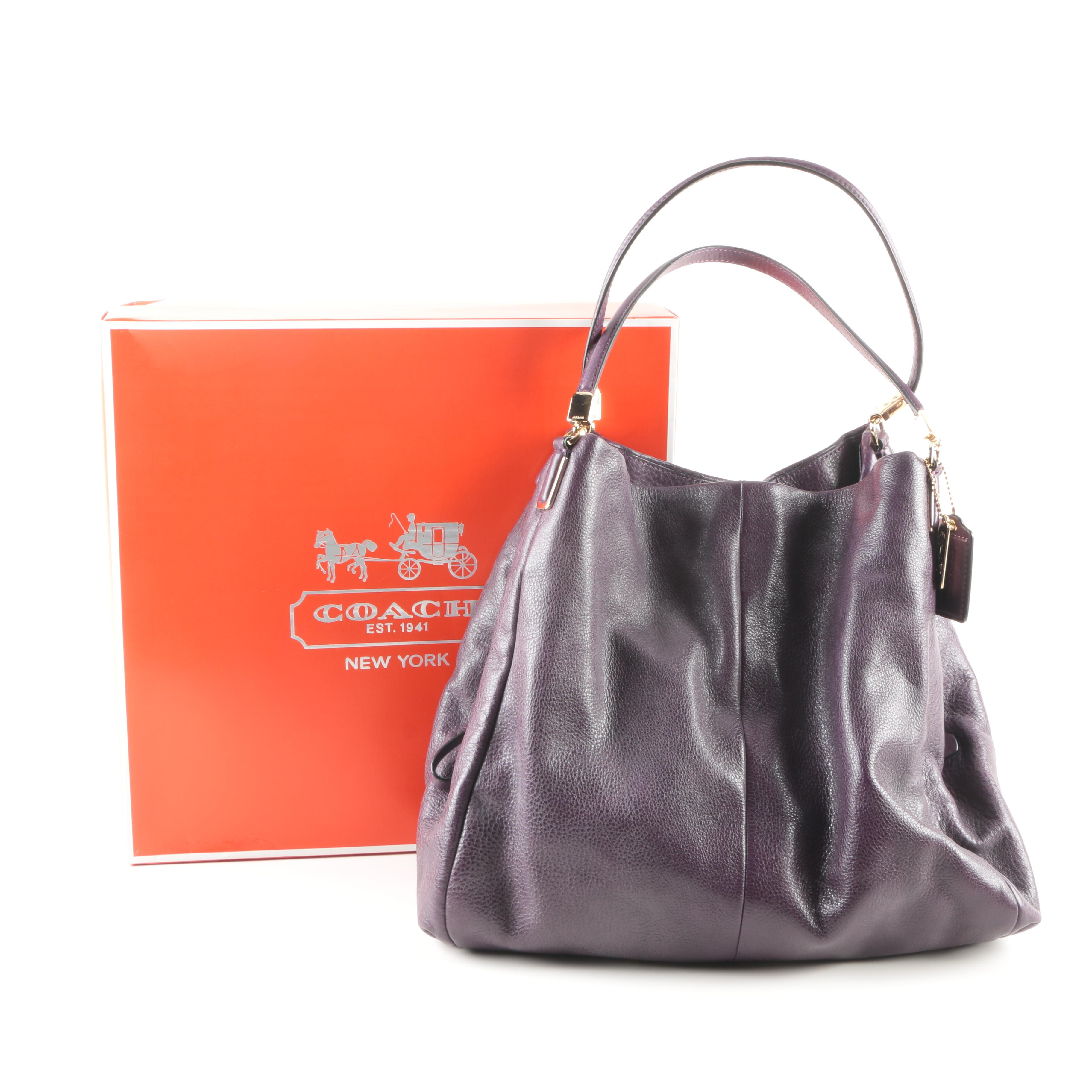 ... france coach phoebe handbag in black violet leather 0b206 3296d 3209e2345f