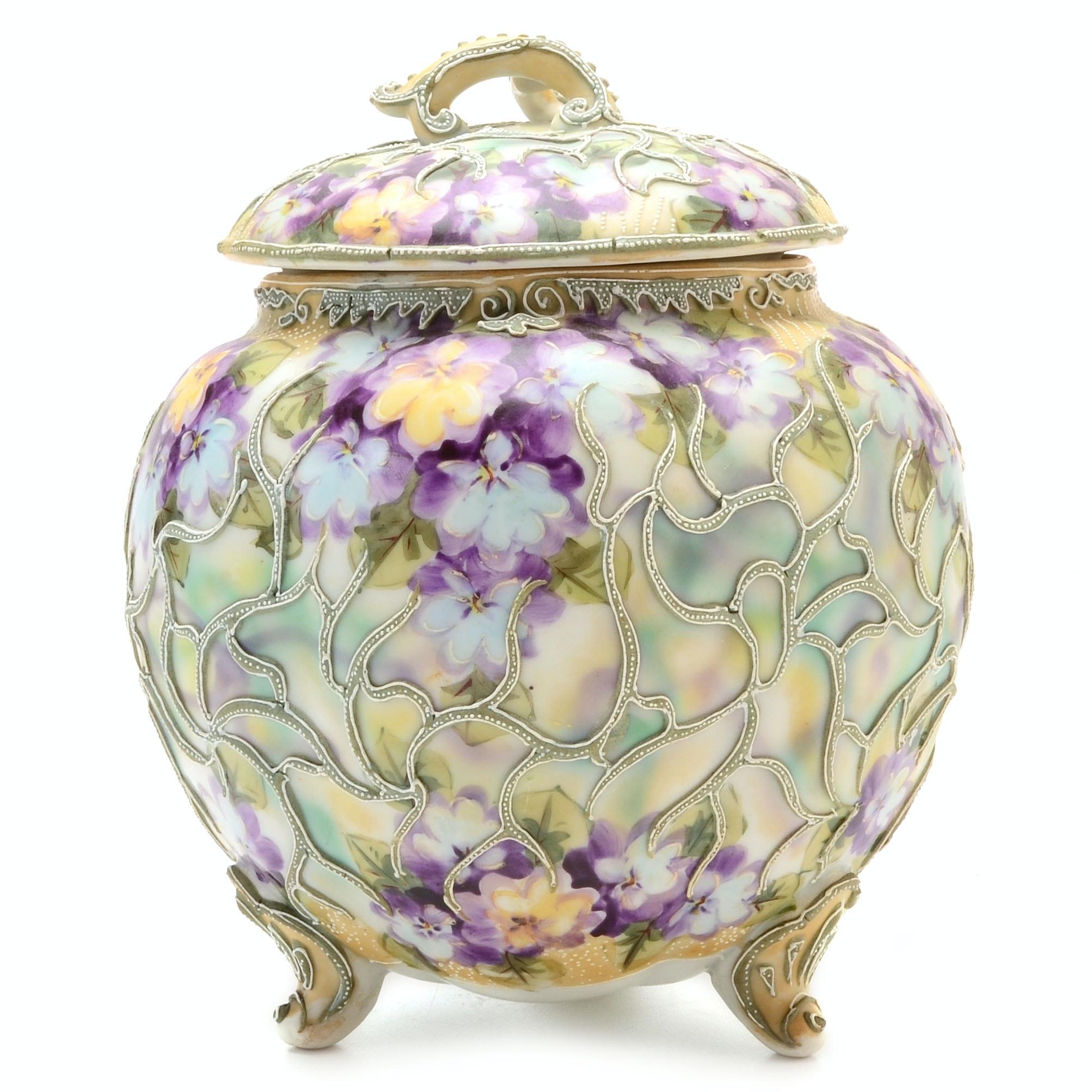Japanese Porcelain Moriage Footed Vase