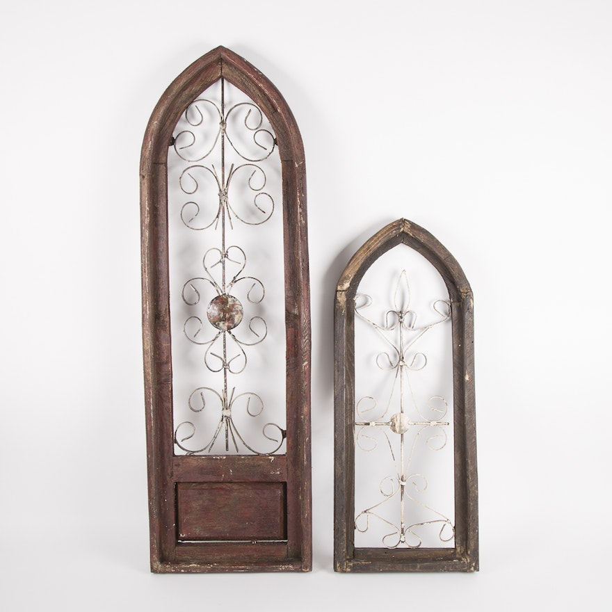 Reclaimed Wood Gothic Style Windows Wall Art