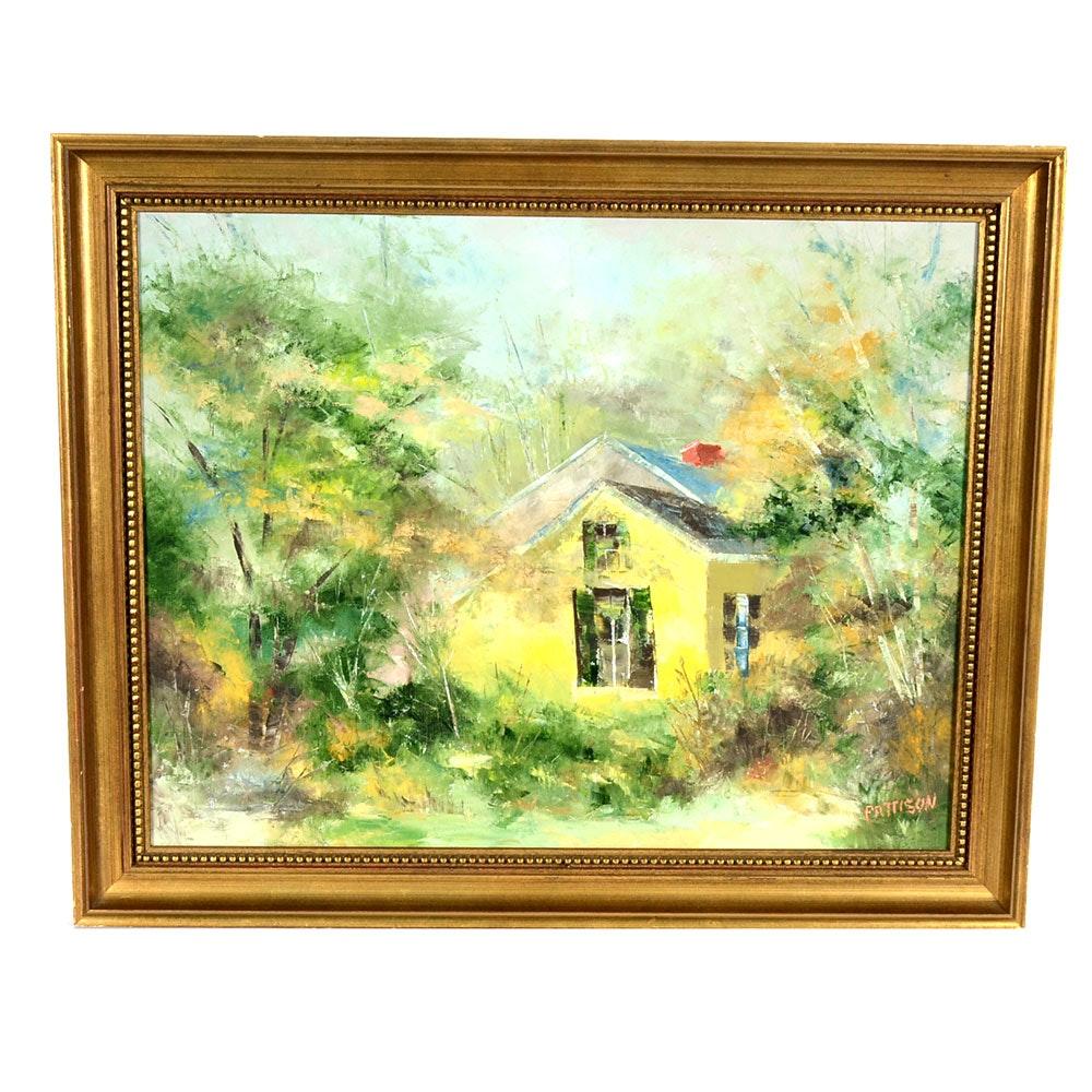 Pattison Signed Original Oil on Canvas of Cottage in Landscape