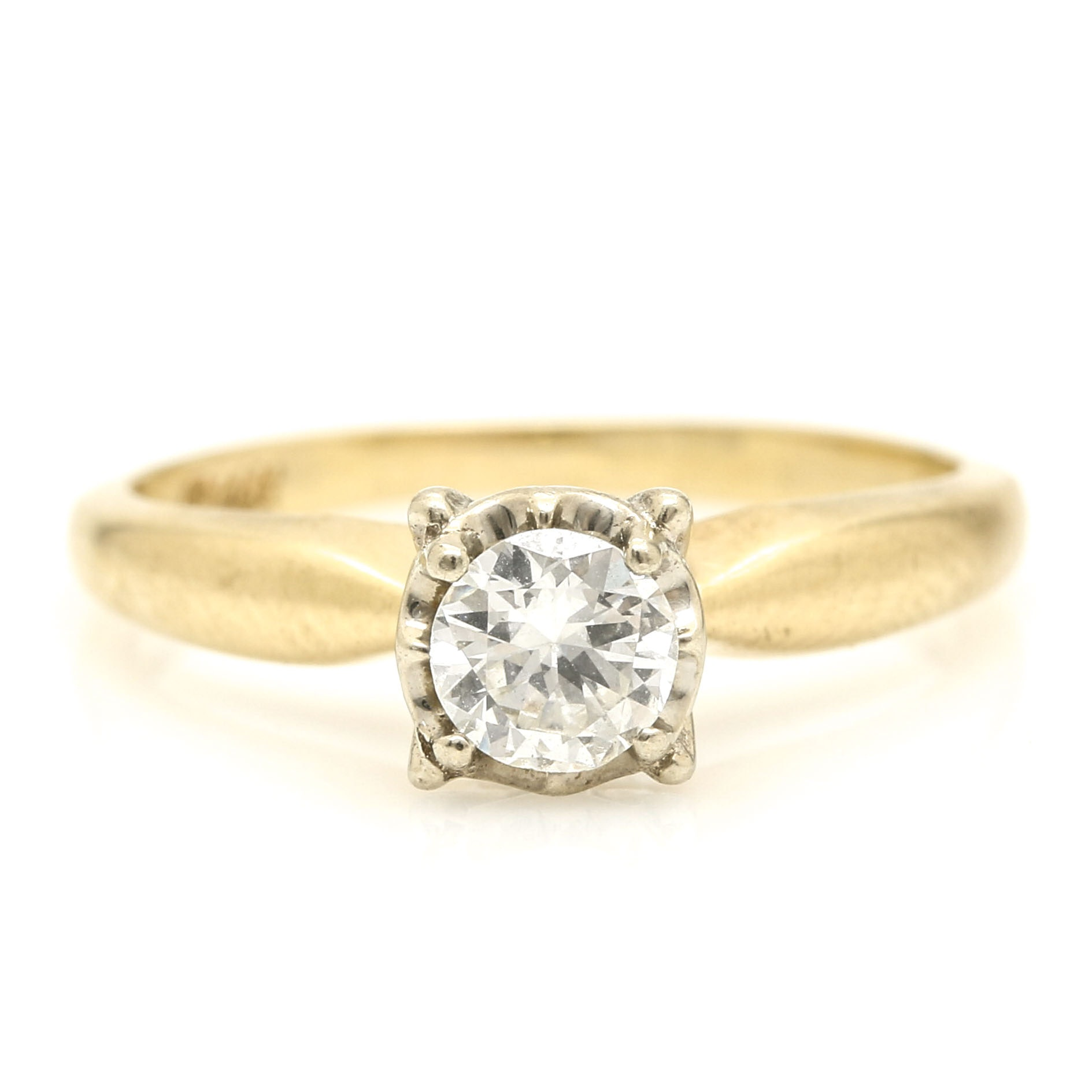 14K Yellow Gold and White Gold Diamond Ring