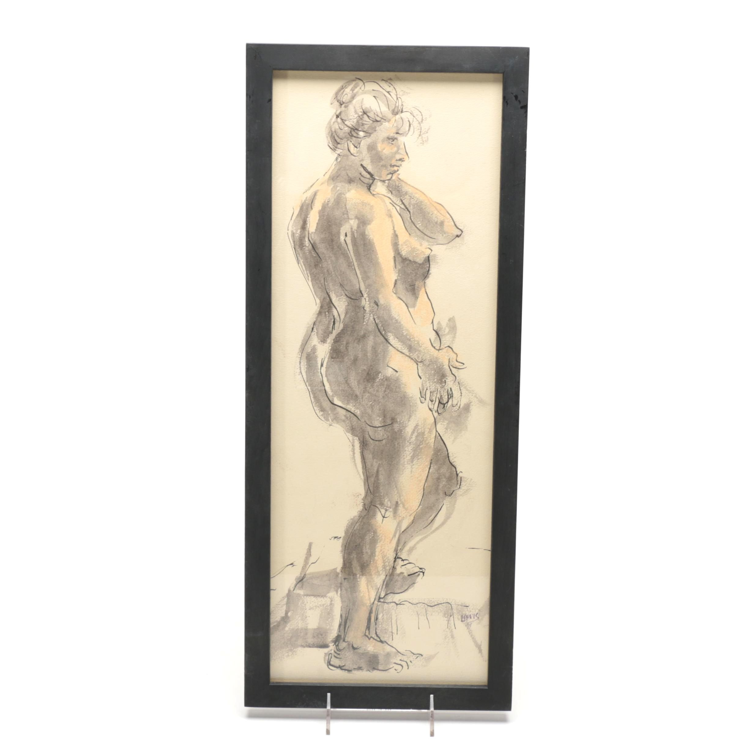 Lois Davis Indiana Artist Mixed Media on Paper Female Nude
