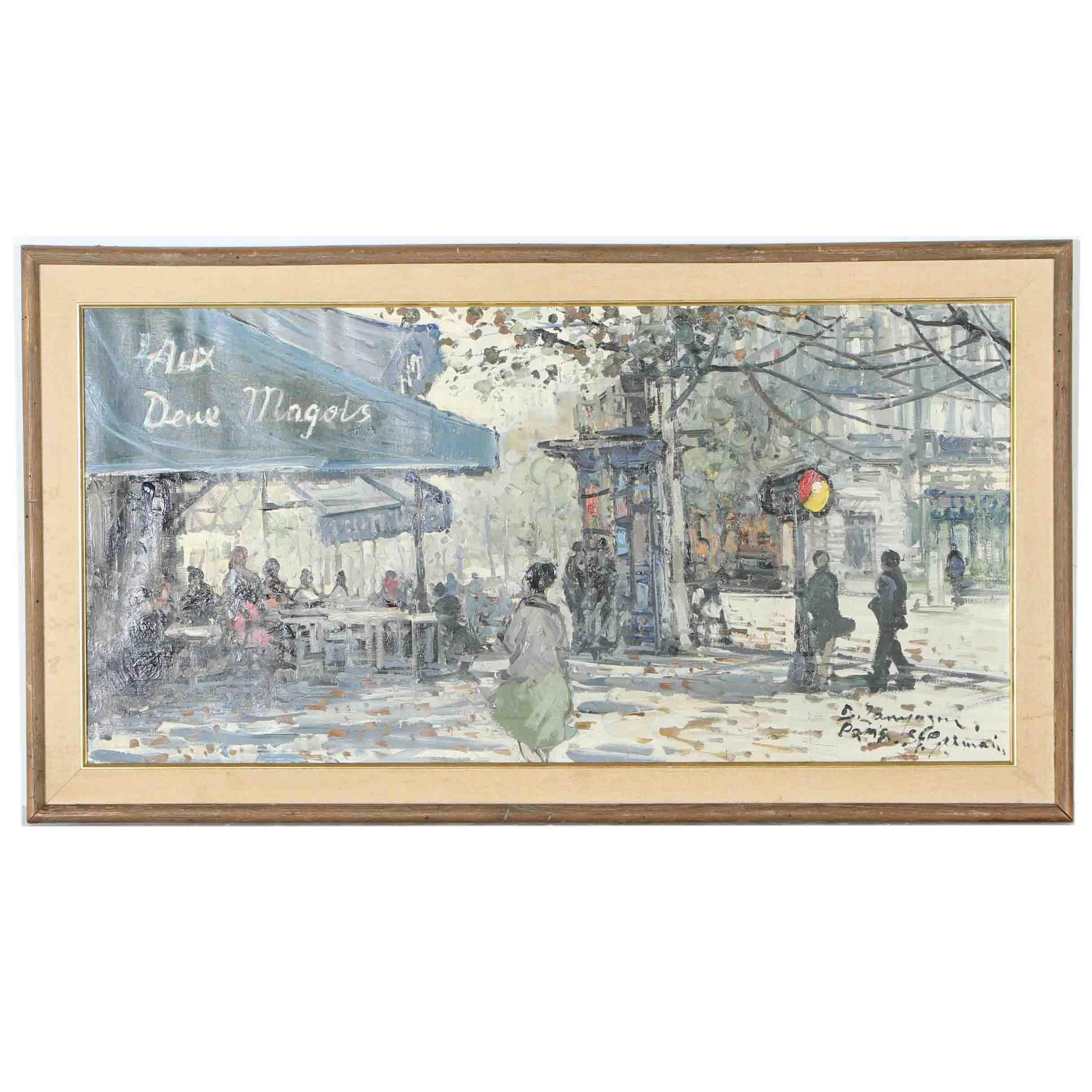 B. Zauyoson Oil on Canvas of a Paris Street Scene