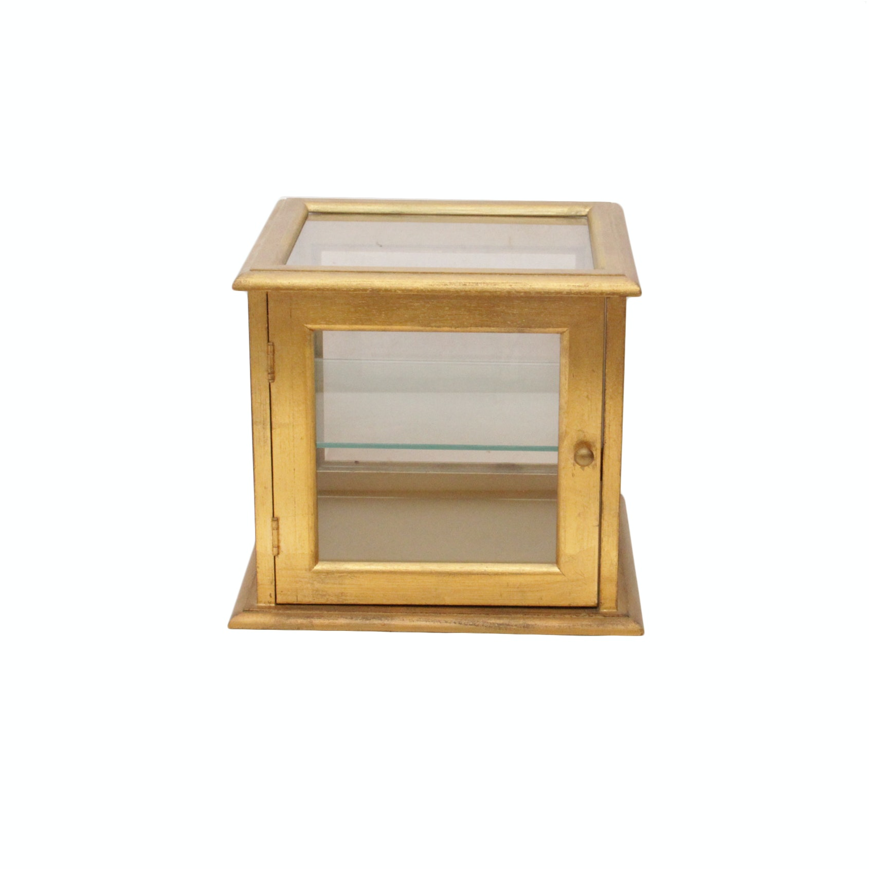 Gold Tone Painted Wooden Display Box