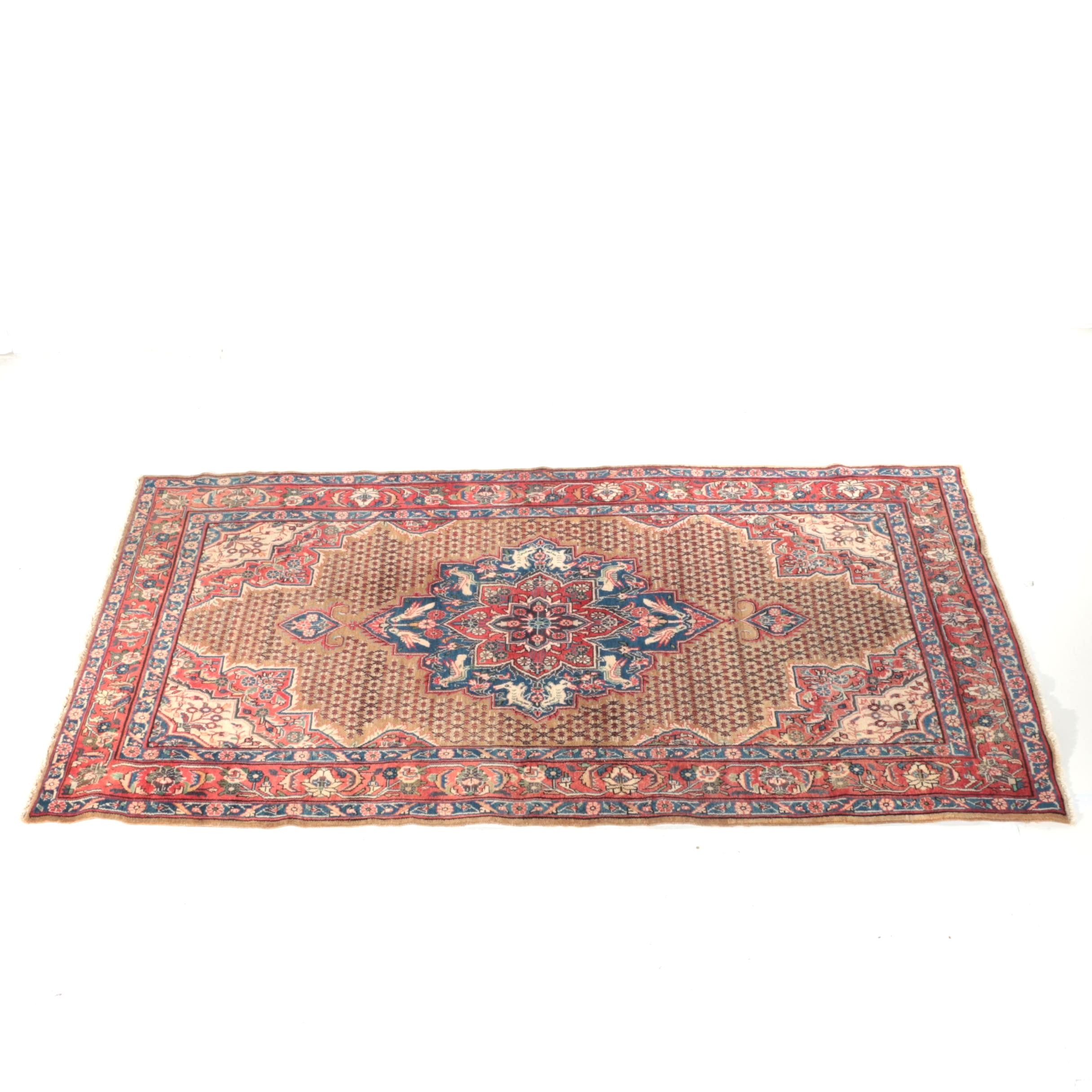 Hand-Knotted Persian Hamadan Pictorial Area Rug