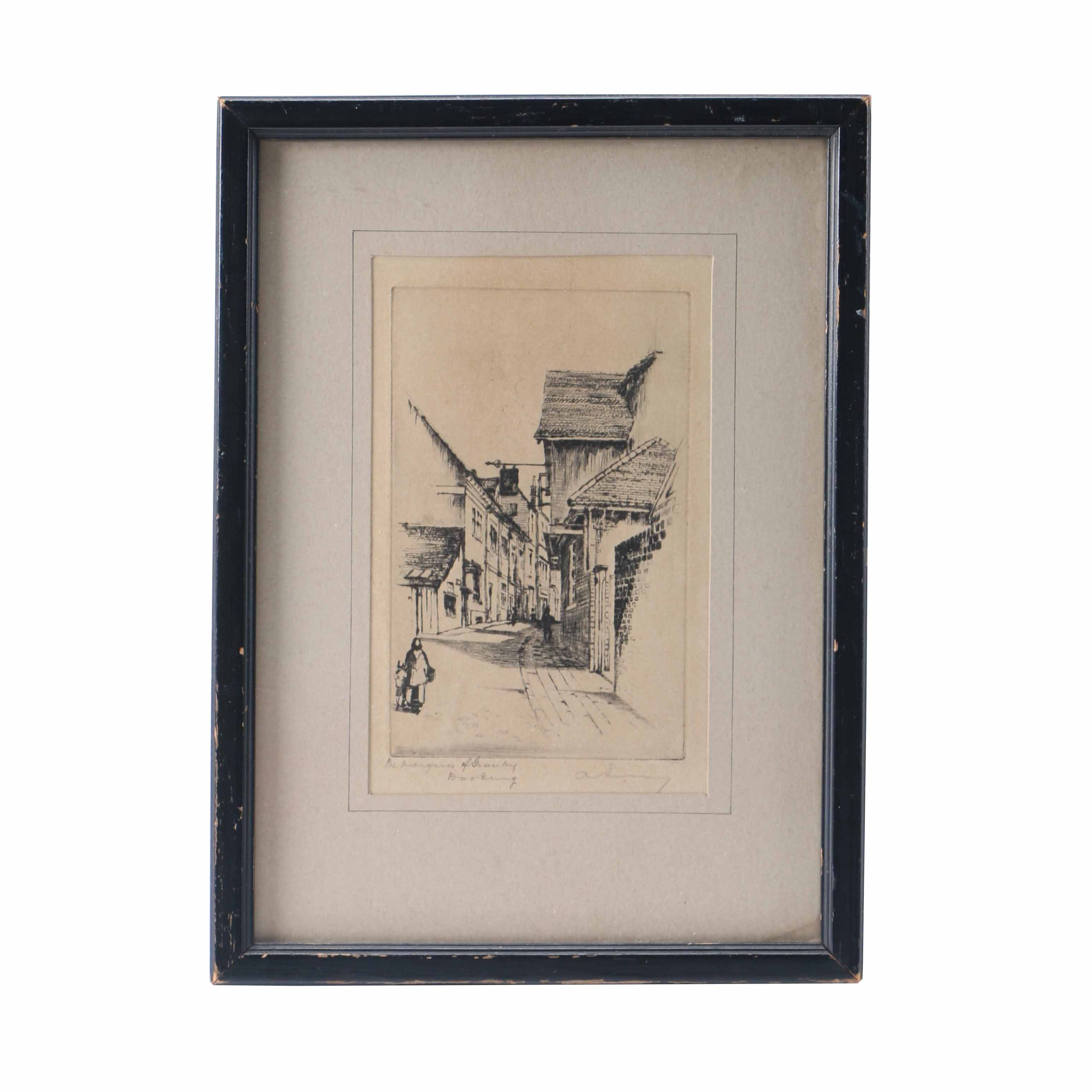 """Etching on Paper """"The Marquis of Granby, Dorking"""""""