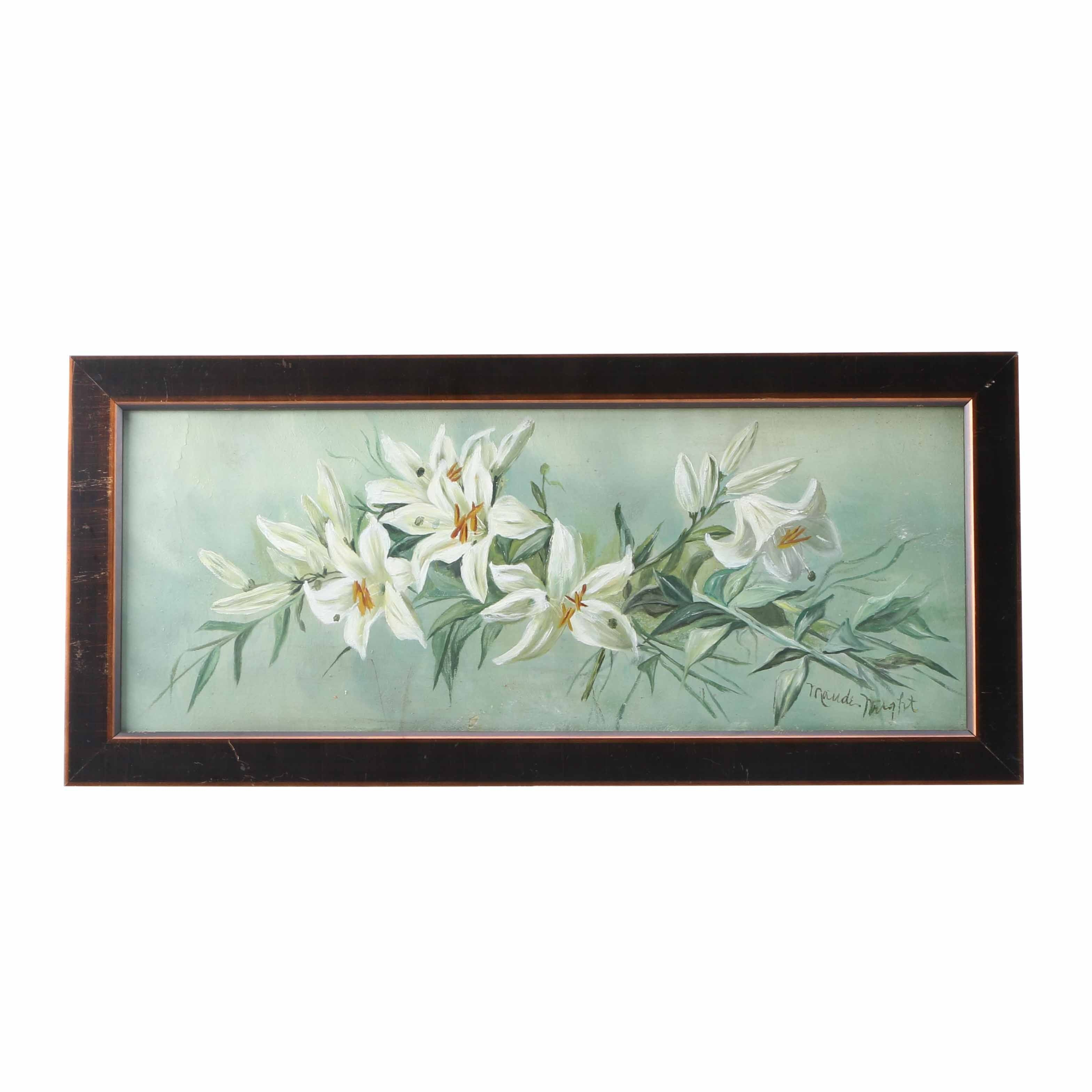 Maude Wright Oil Painting on Board of White Lillies