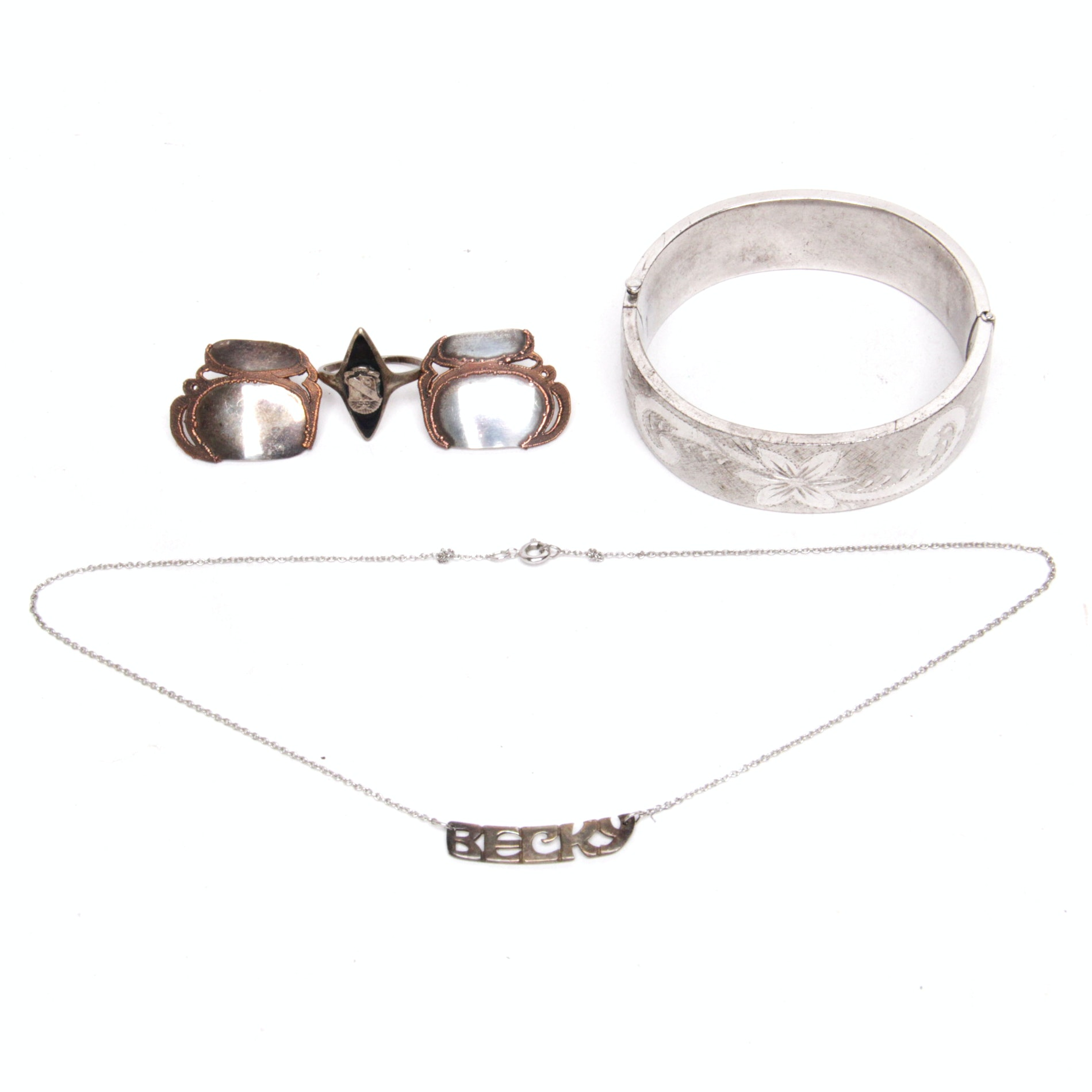 Sterling Silver Jewelry Including a Floral Cuff Bracelet