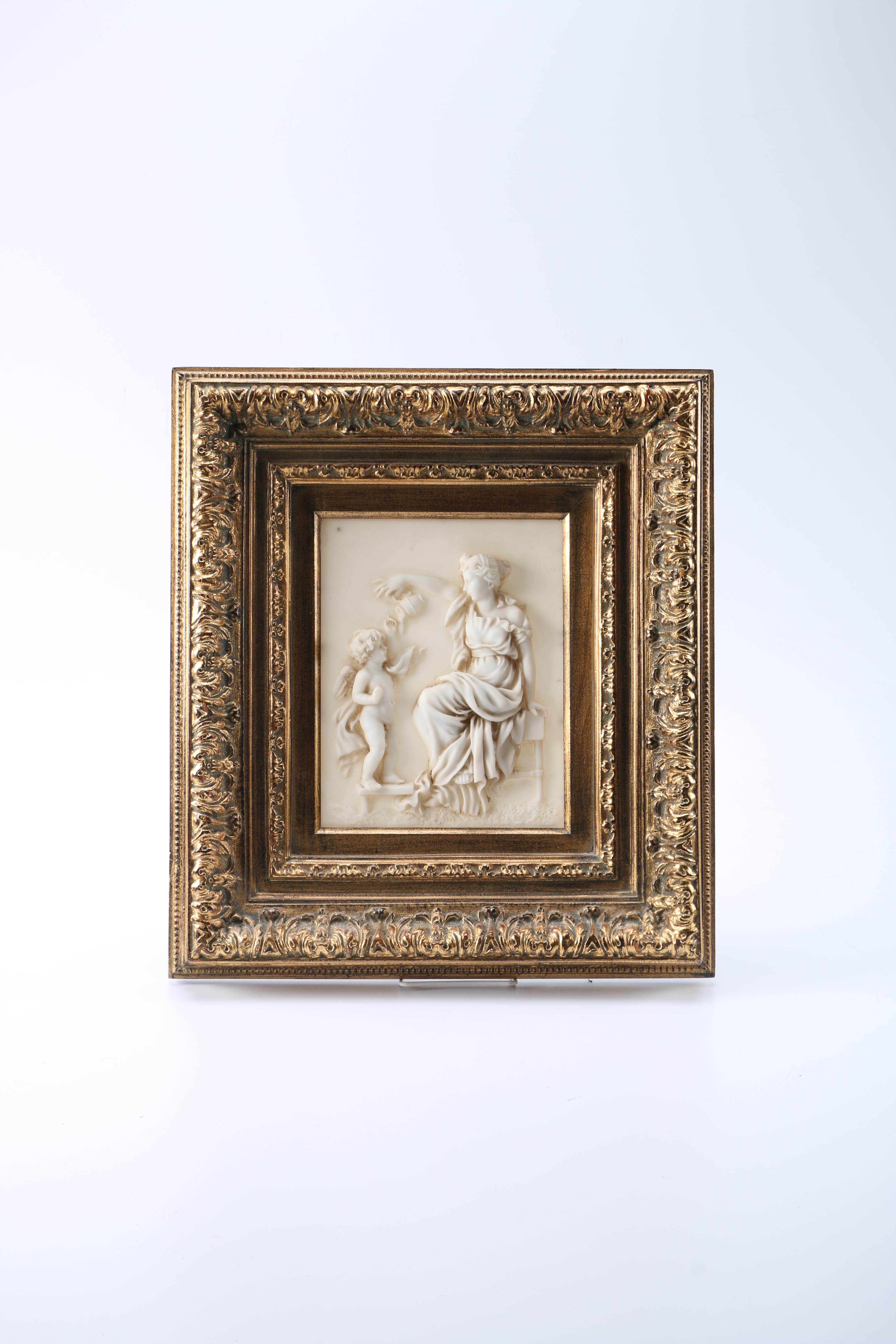 Neoclassical Resin Relief in an Ornate Foliate Frame