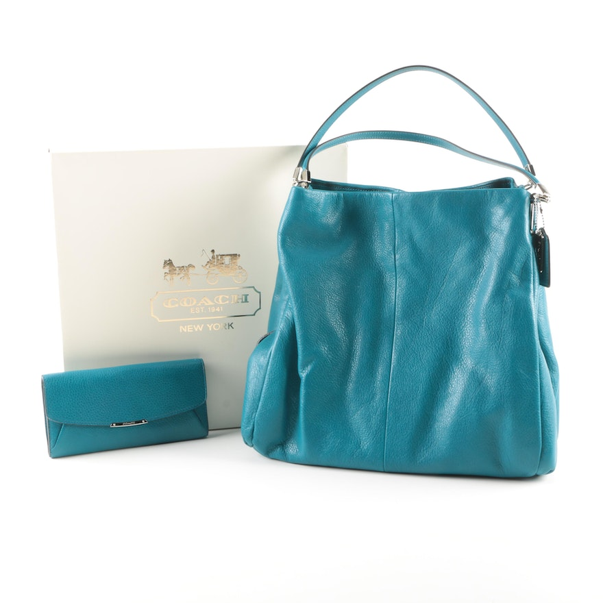 Coach Turquoise Leather Phoebe Shoulder Bag And Flap Wallet