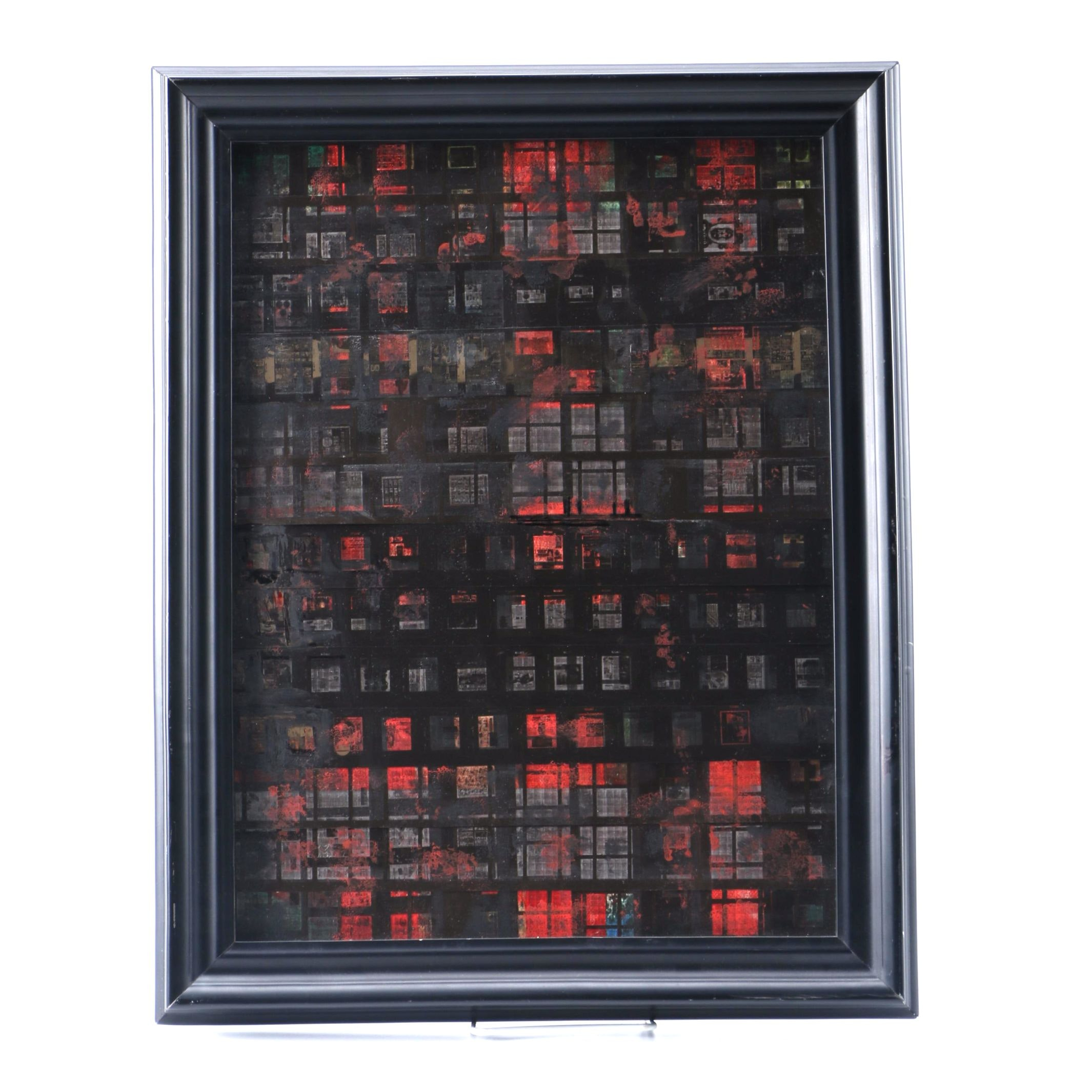 """T. Elise Mixed Media on Canvas """"Red Highrise"""""""