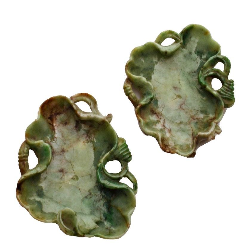Pair of late 19th Century Chinese Jadeite Brush Wash Bowls
