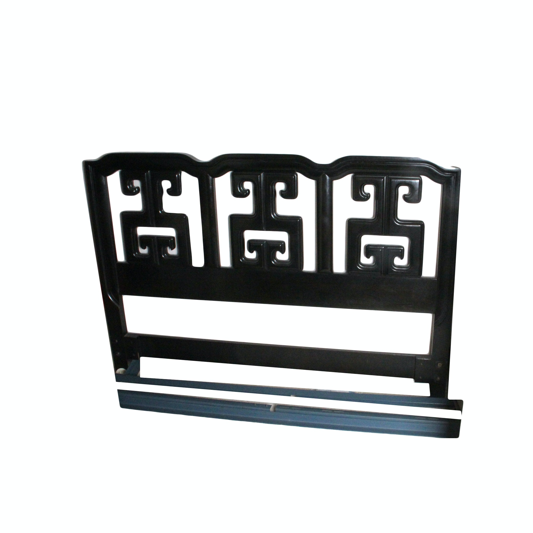 Chinoiserie Black Lacquered Queen Size Headboard and Frame