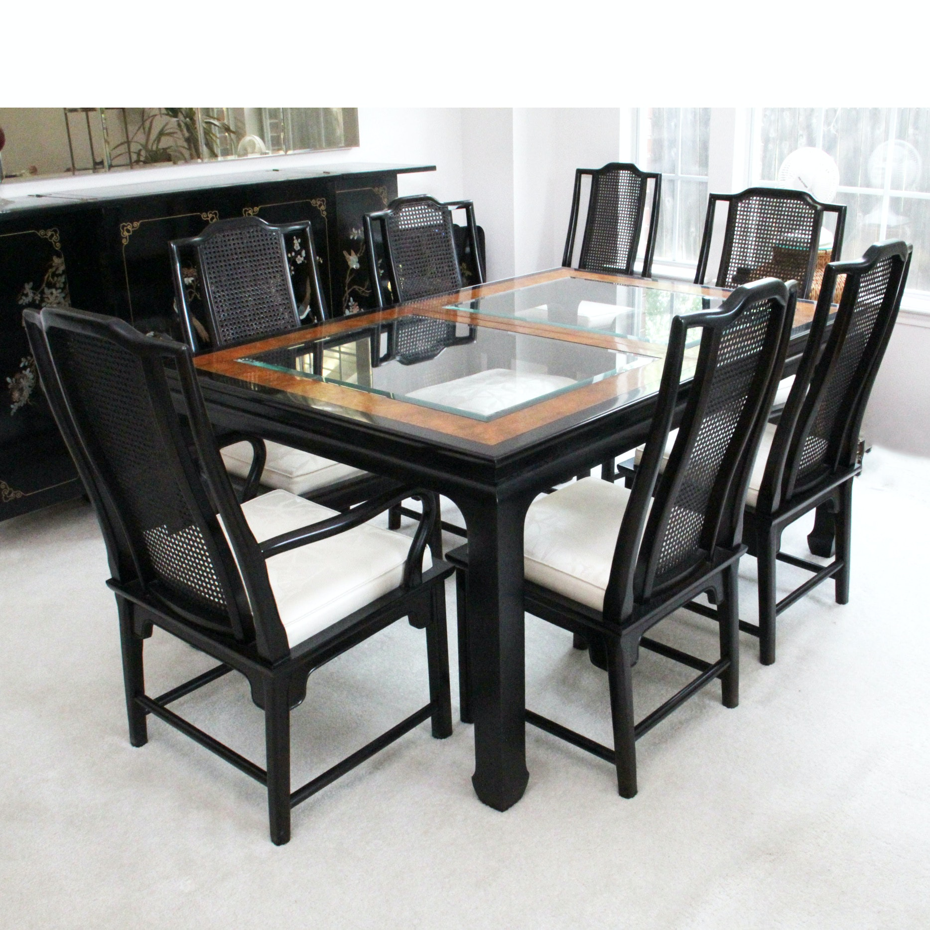 Asian Inspired Black Lacquer Table and Eight Chairs