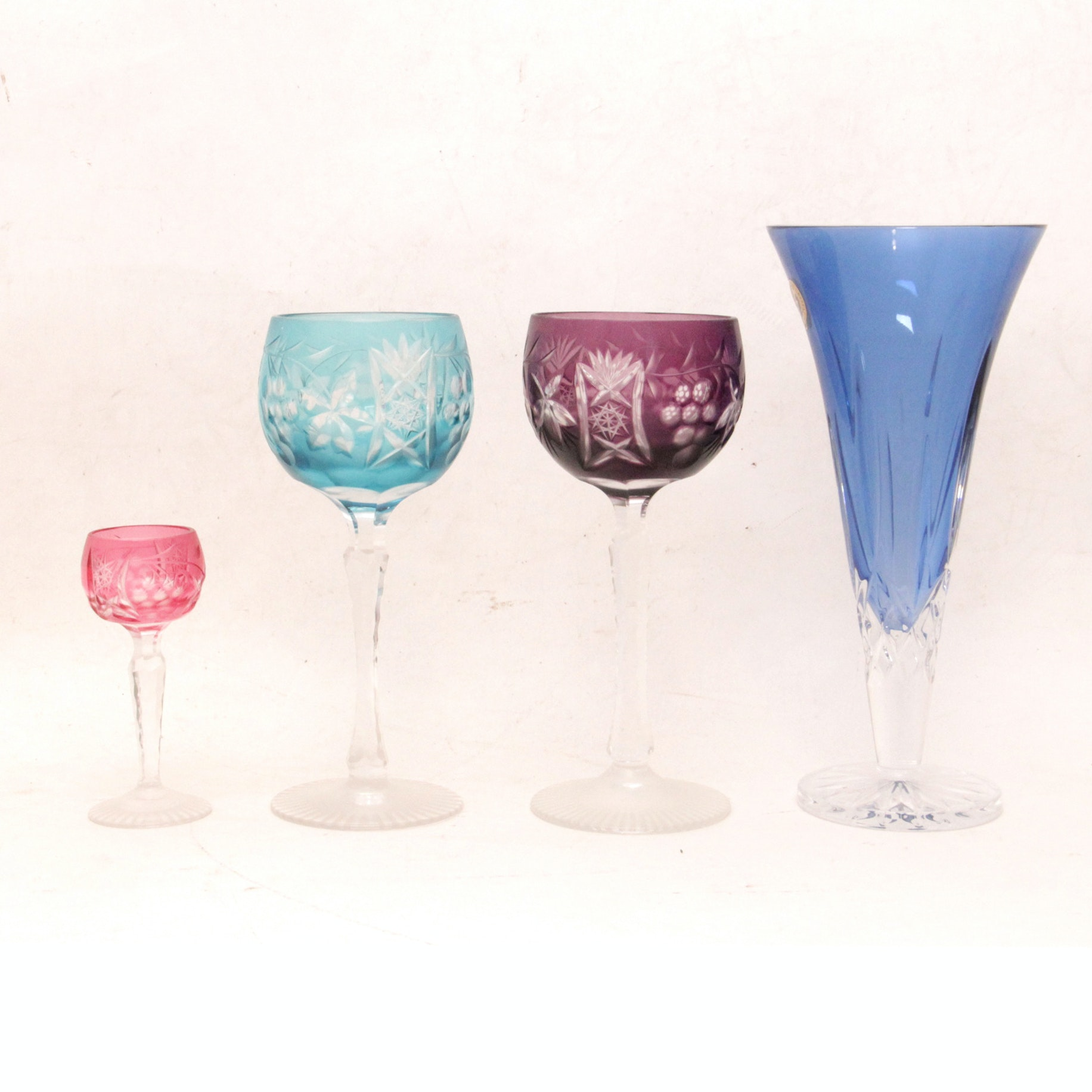 Collection of Cut to Clear Goblets and a Waterford Vase