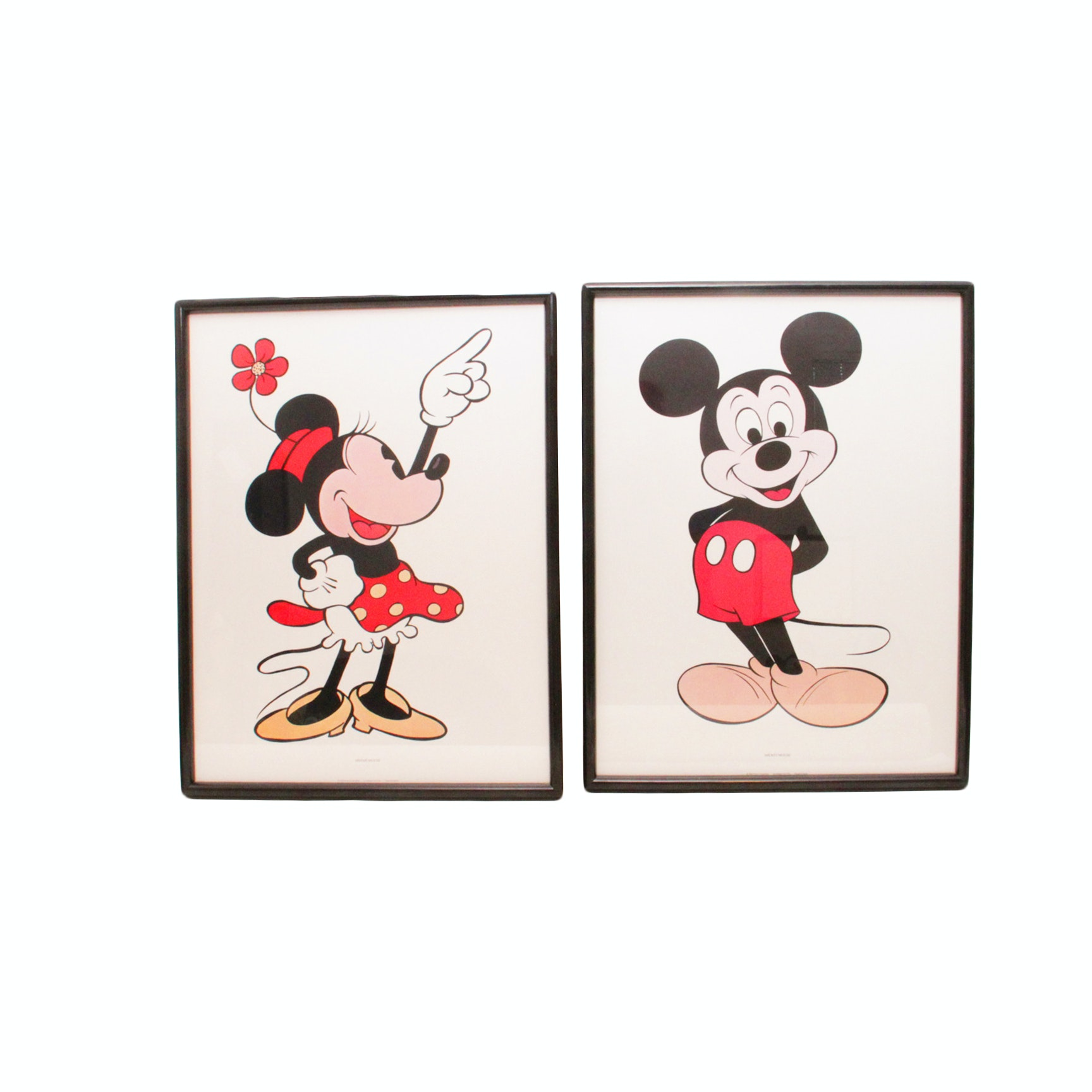 A Pairing of Micky and Minnie Mouse Offset Lithographs