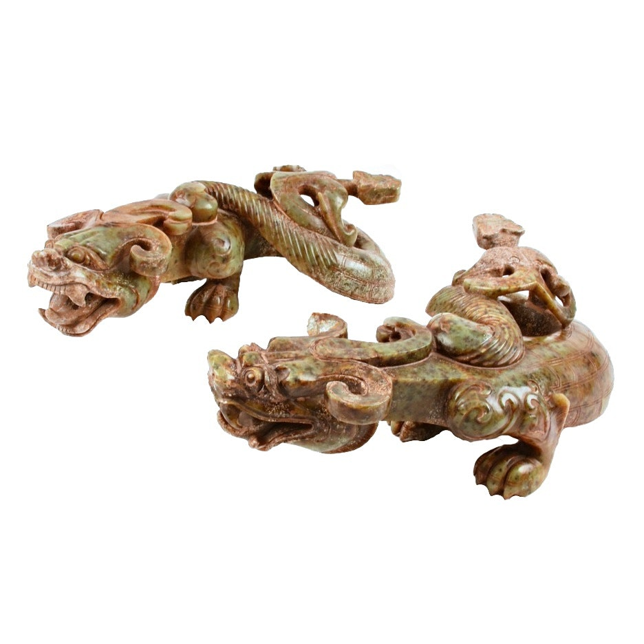 Pair of 19th Century Well Carved Nephrite Jade Chinese Dragons