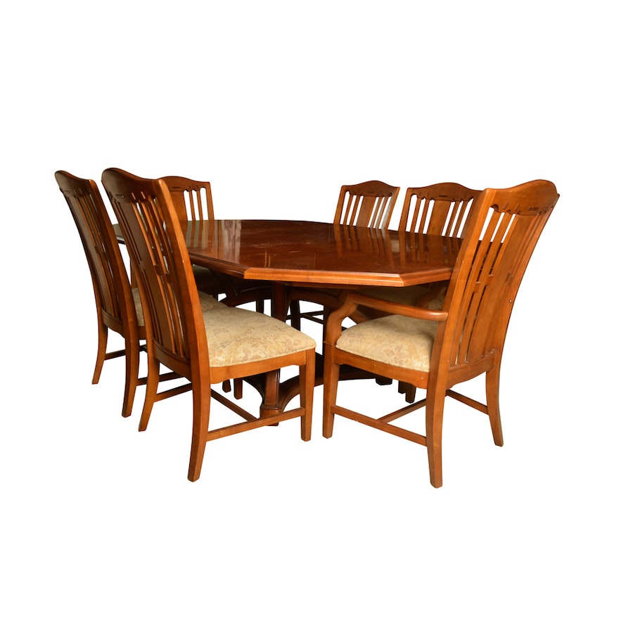 Mission style dining table and chairs by bernhardt ebth for Mission style dining table