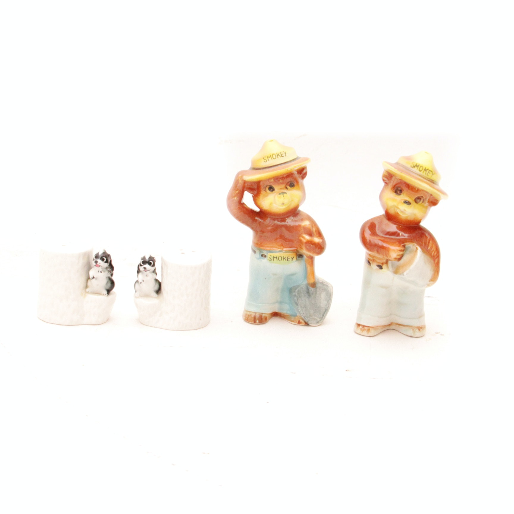 Smokey the Bear Salt and Pepper Shakers and Skunk Shakers