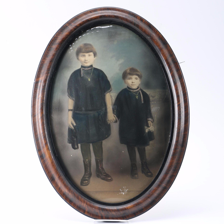 Antique Crayon Portrait In Bubble Glass Frame ...