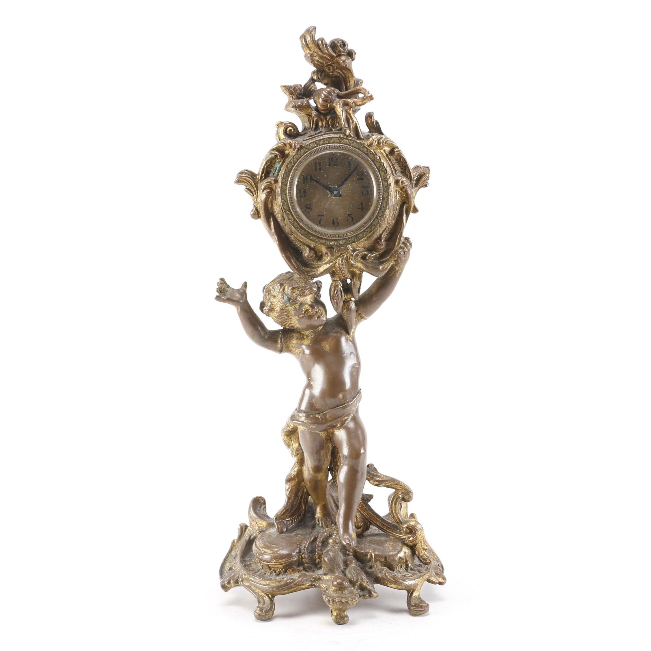 Bronze Mantle Clock With Putto