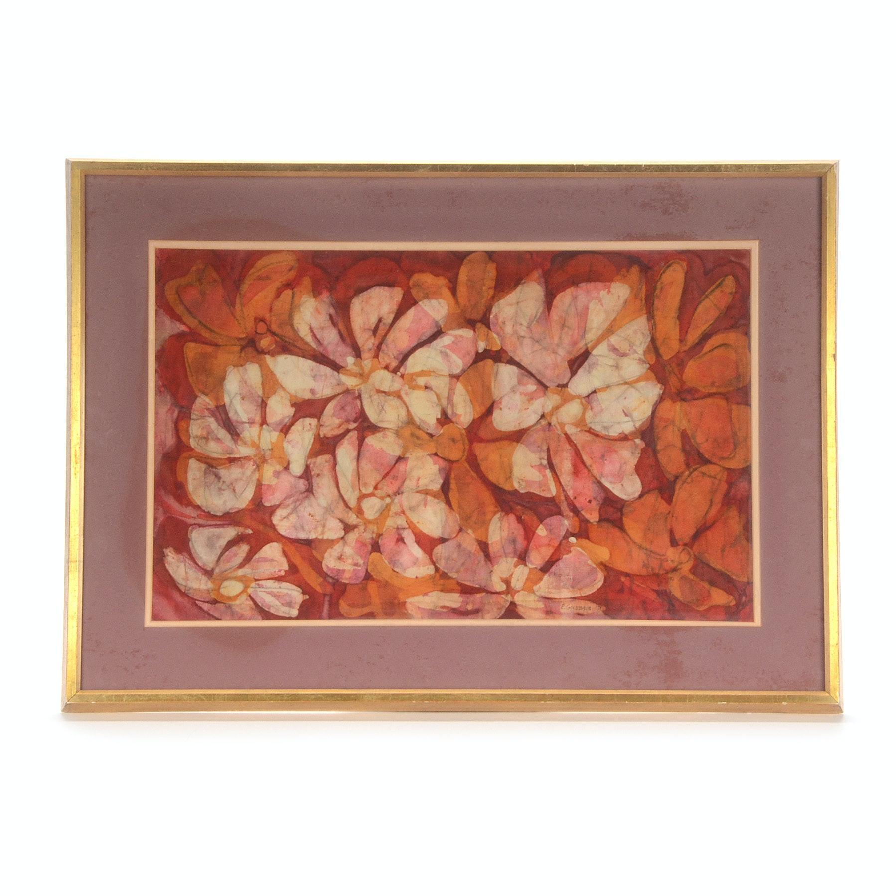 E. Goldbaum Original 1971 Hand-Dipped Floral Batik Tapestry
