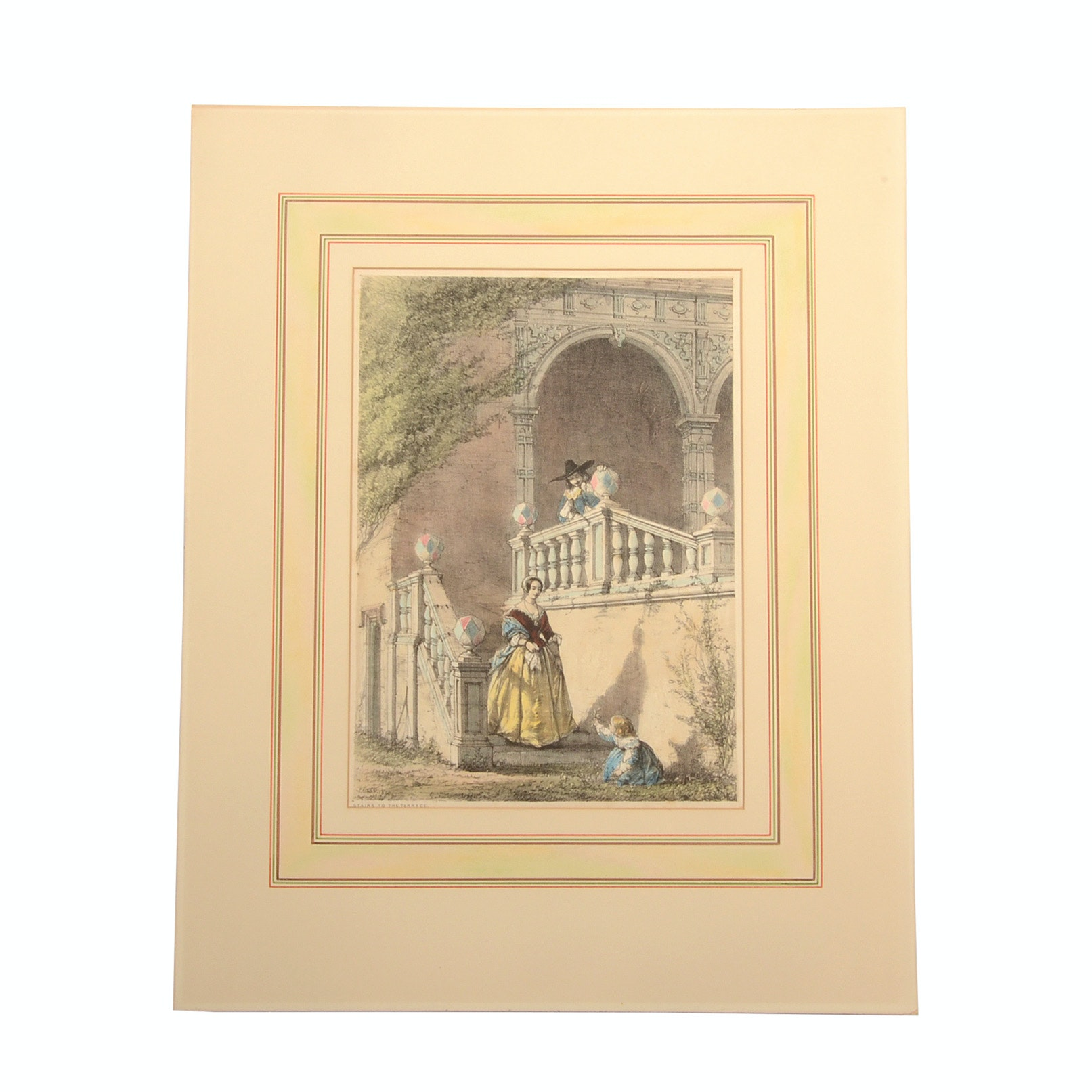 """M. & N. Hanhart 19th Century Stone Lithograph """"Stairs to the Terr"""
