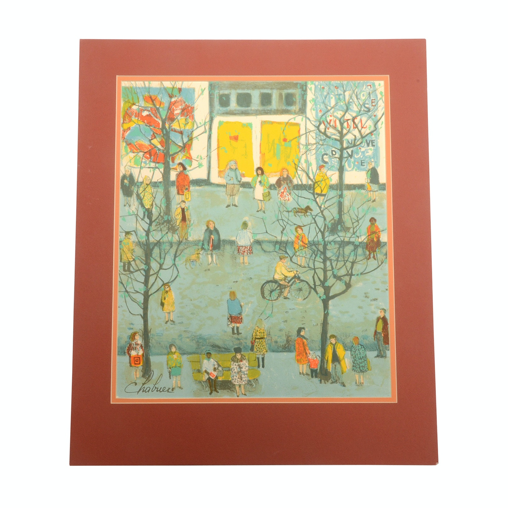 """Nathalie Chabrier Hand-Pulled Lithograph """"Paris Scene"""""""