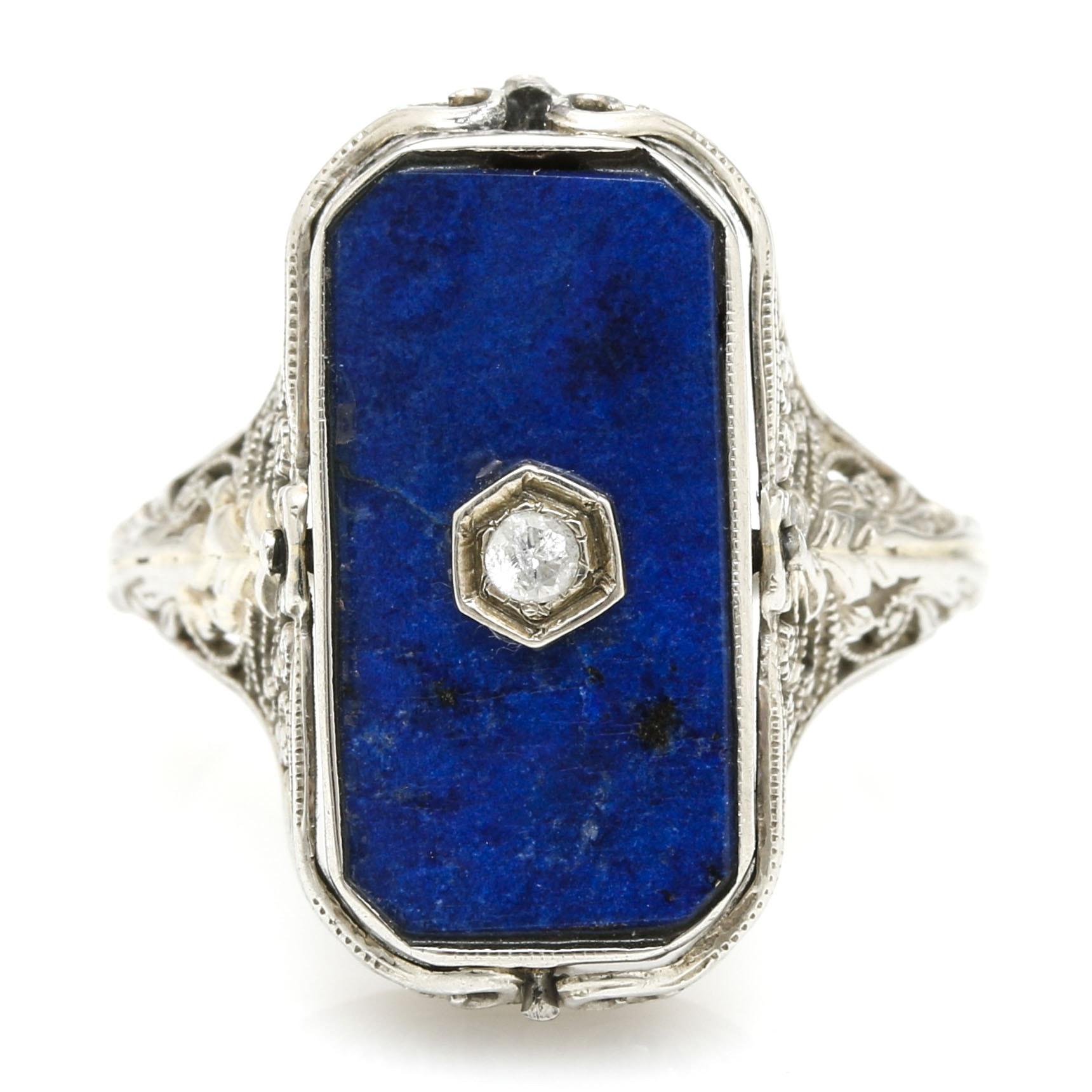 14K White Gold Lapis Lazuli, Onyx, and Diamond Ring