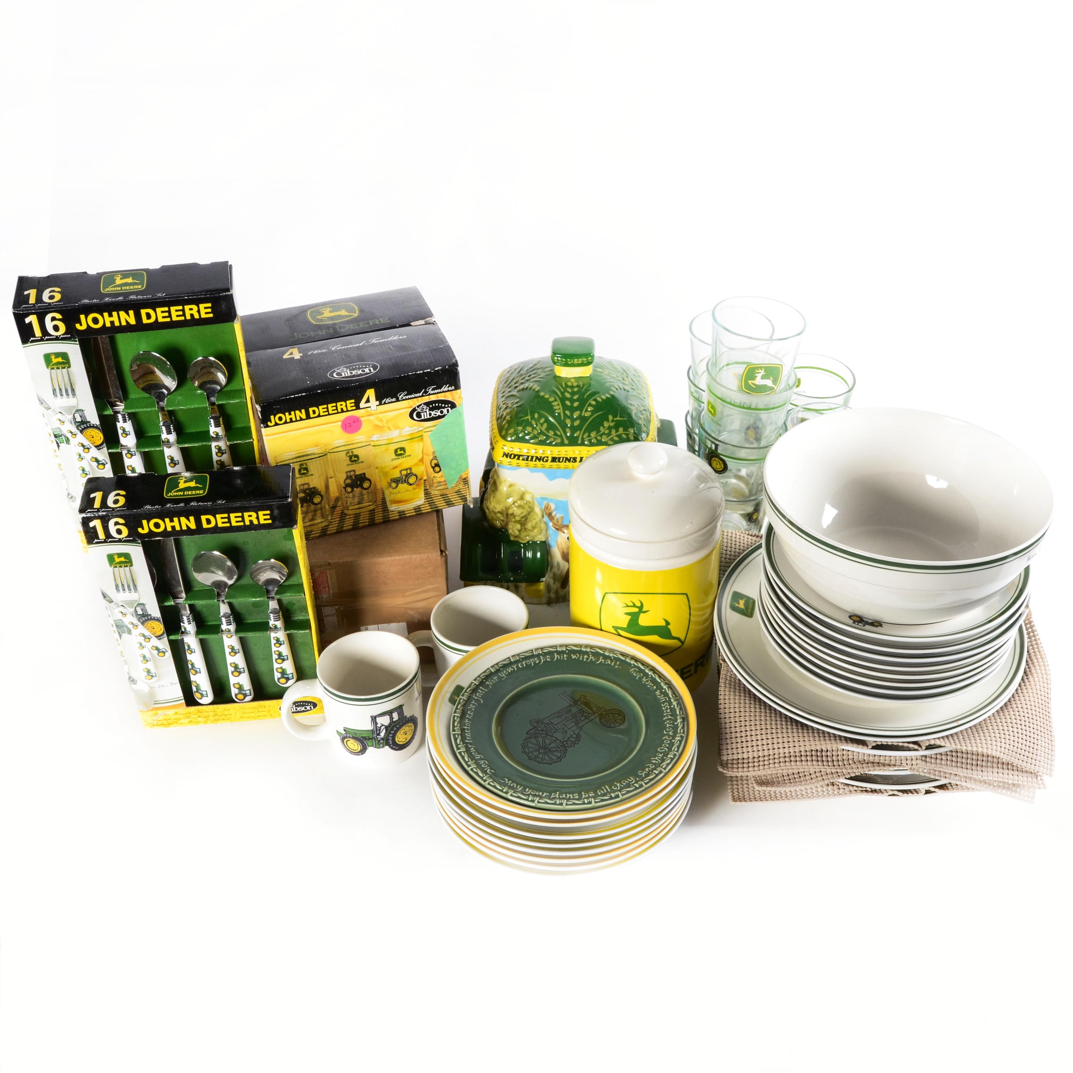 Collection of John Deere Dishes and Tableware